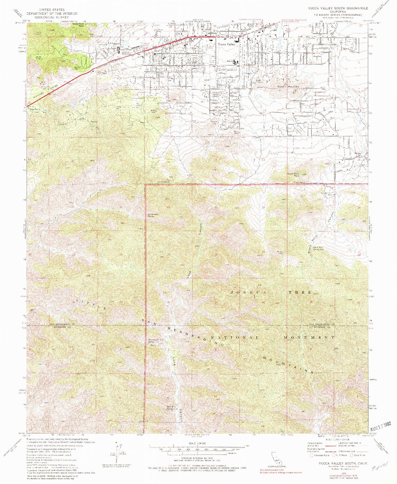 USGS 1:24000-SCALE QUADRANGLE FOR YUCCA VALLEY SOUTH, CA 1972