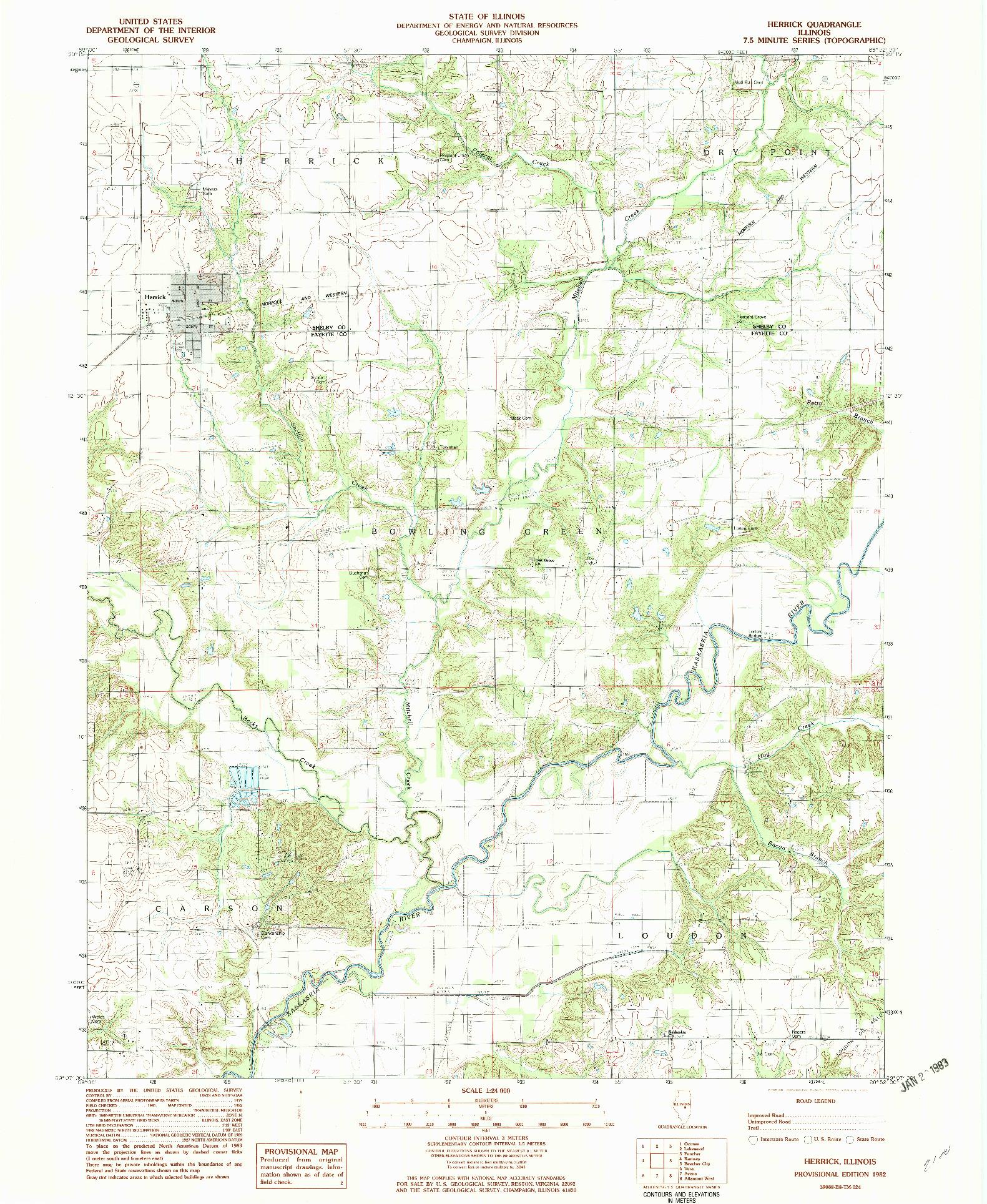 USGS 1:24000-SCALE QUADRANGLE FOR HERRICK, IL 1982