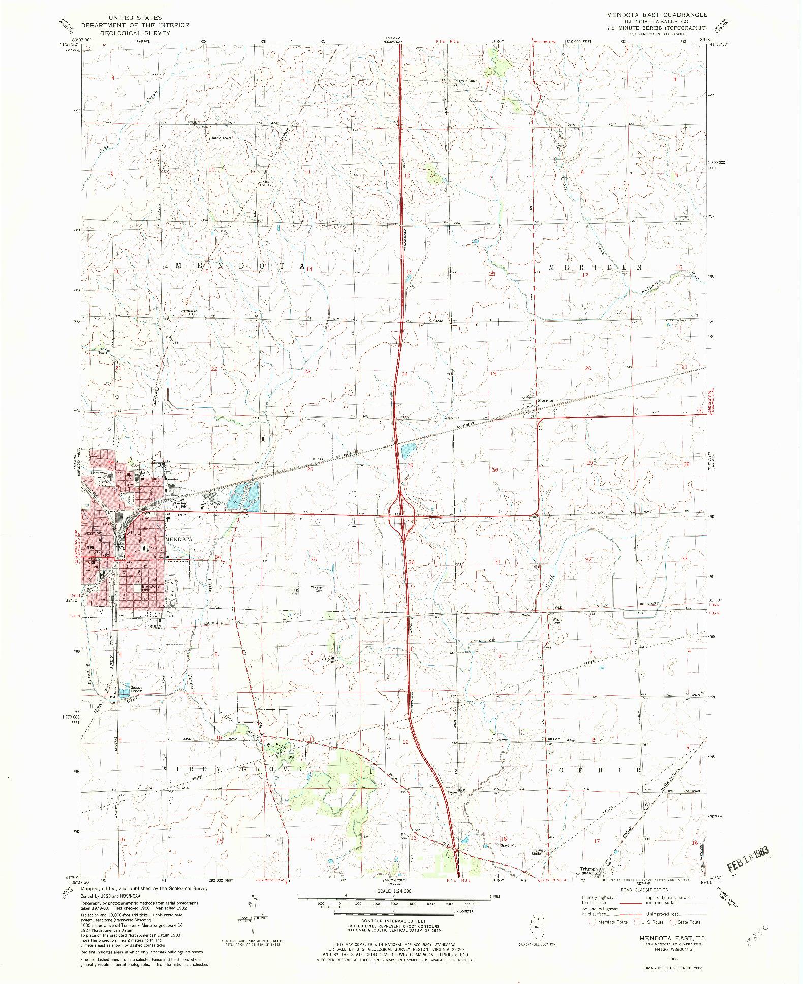 USGS 1:24000-SCALE QUADRANGLE FOR MENDOTA EAST, IL 1982
