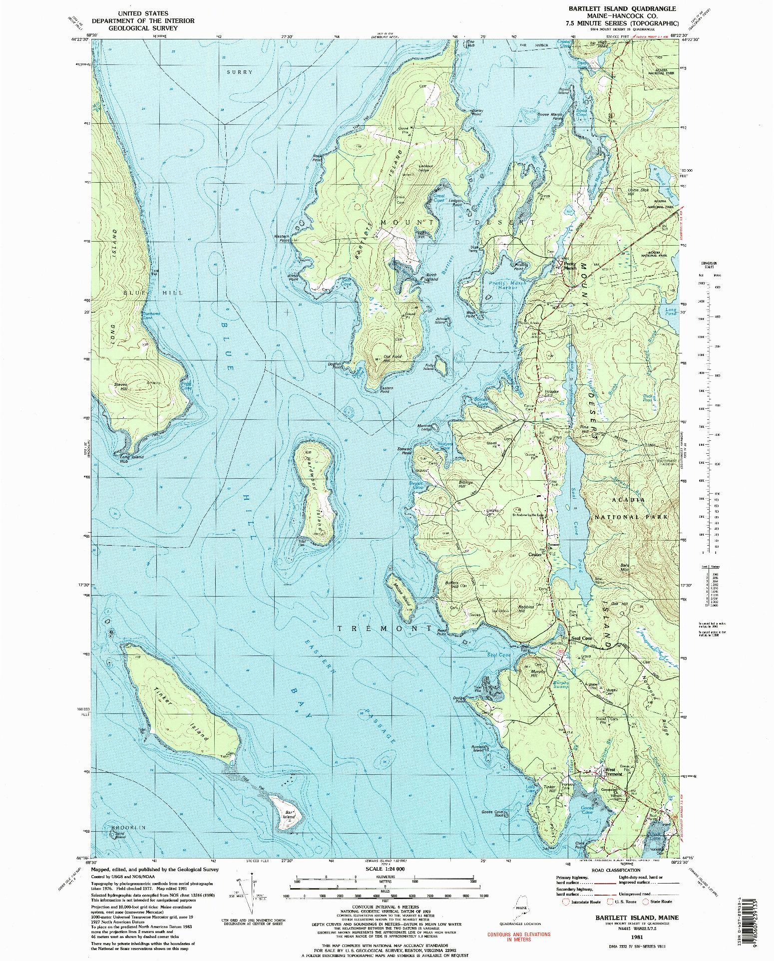 USGS 1:24000-SCALE QUADRANGLE FOR BARTLETT ISLAND, ME 1981