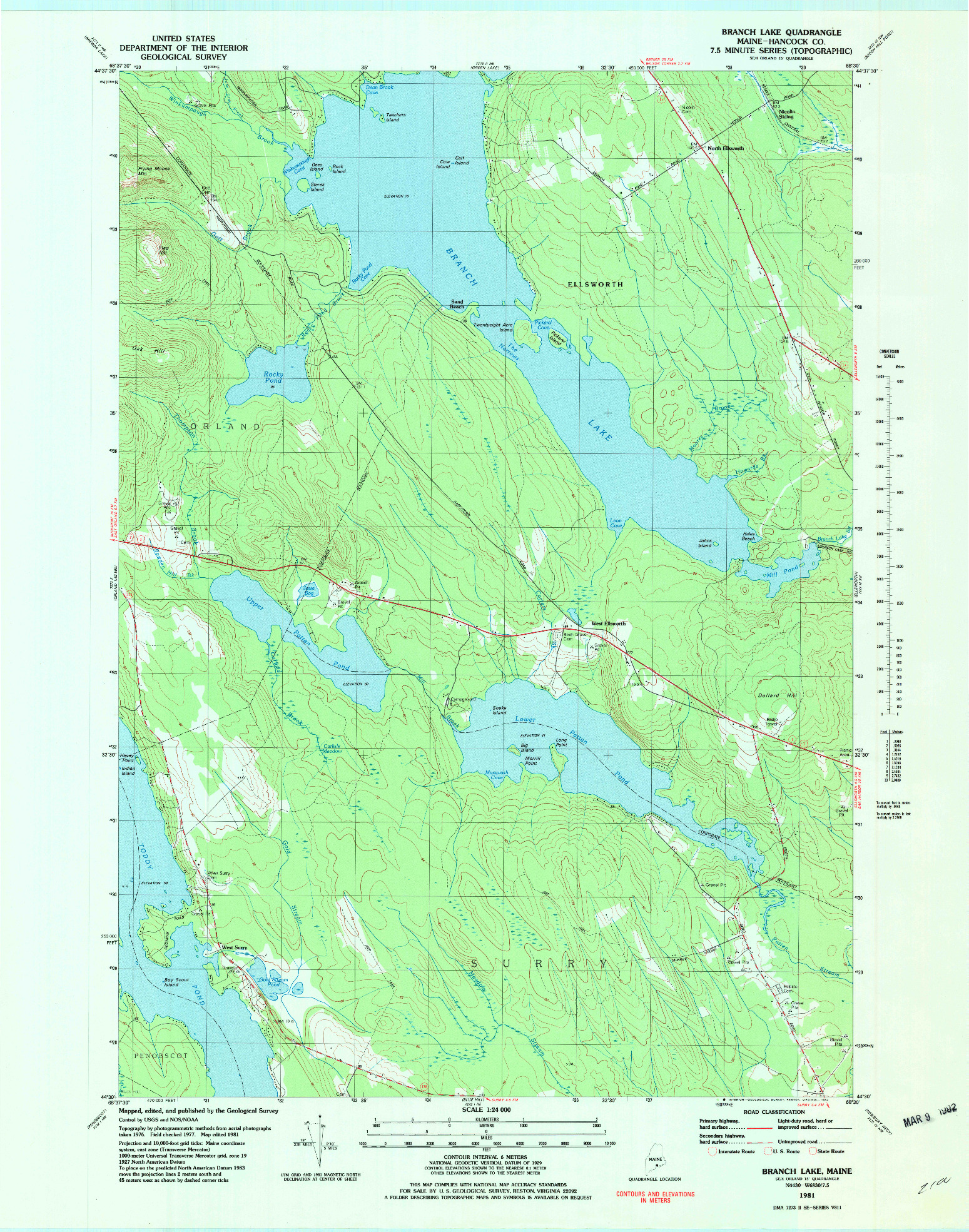 USGS 1:24000-SCALE QUADRANGLE FOR BRANCH LAKE, ME 1981