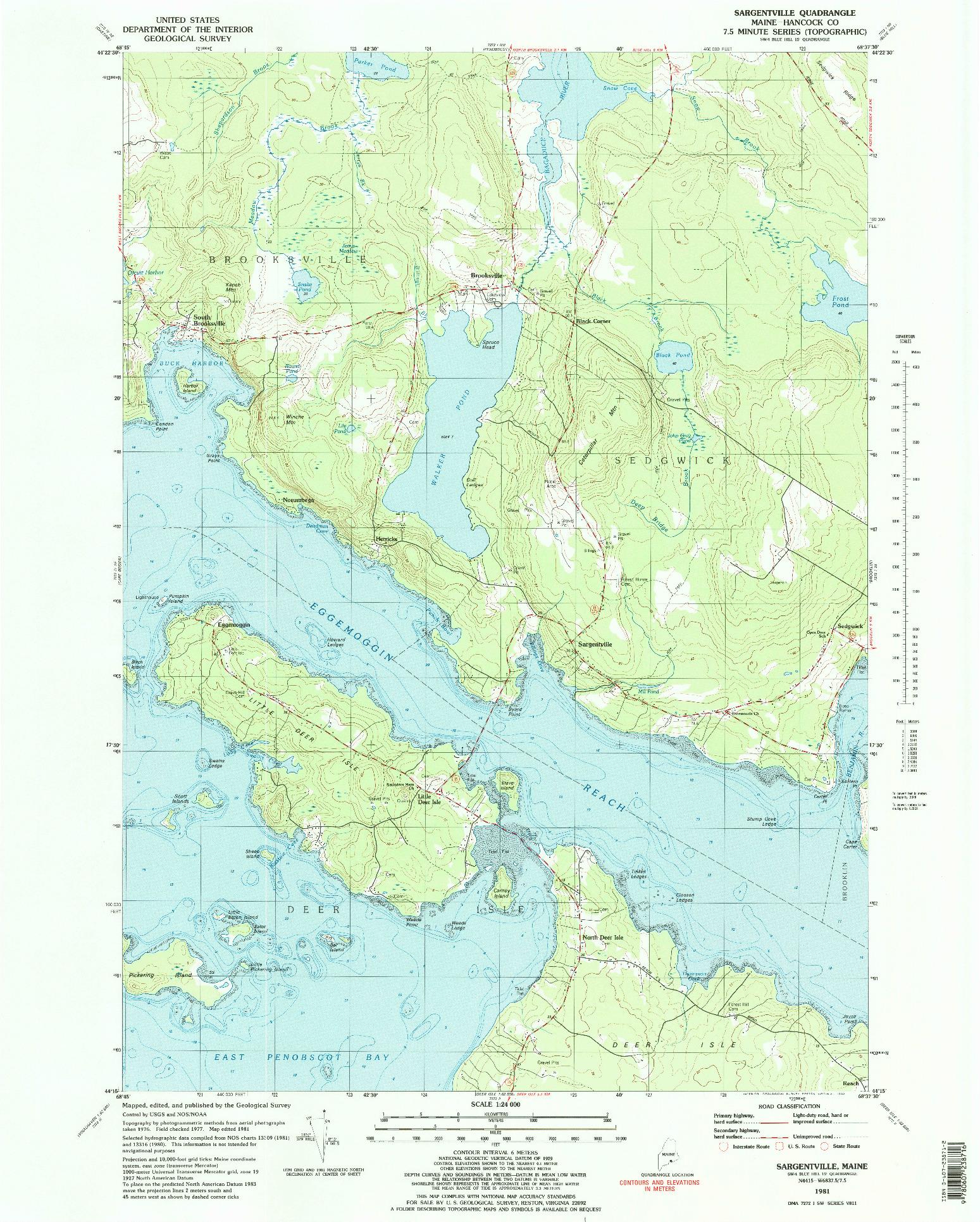 USGS 1:24000-SCALE QUADRANGLE FOR SARGENTVILLE, ME 1981