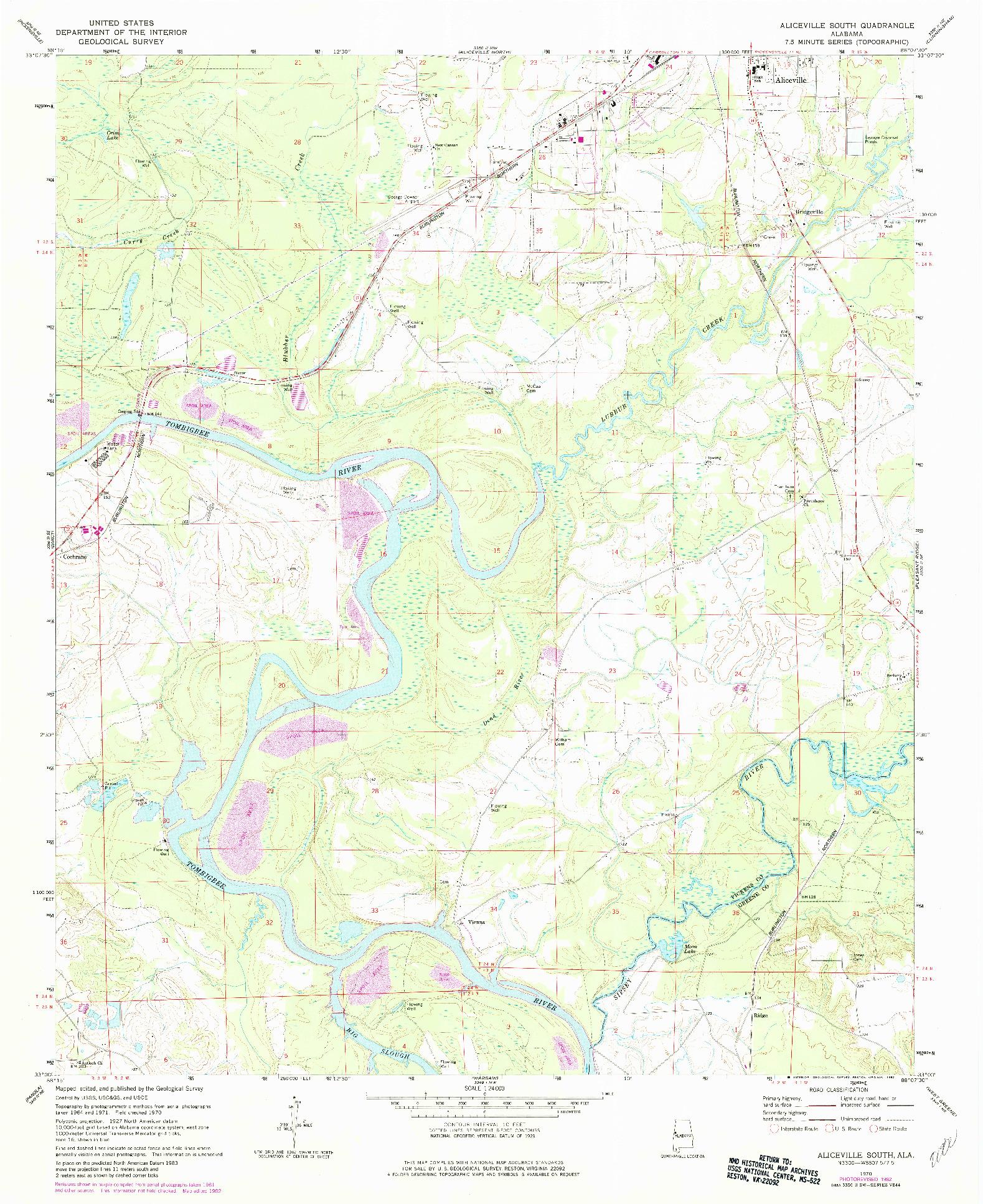 USGS 1:24000-SCALE QUADRANGLE FOR ALICEVILLE SOUTH, AL 1970