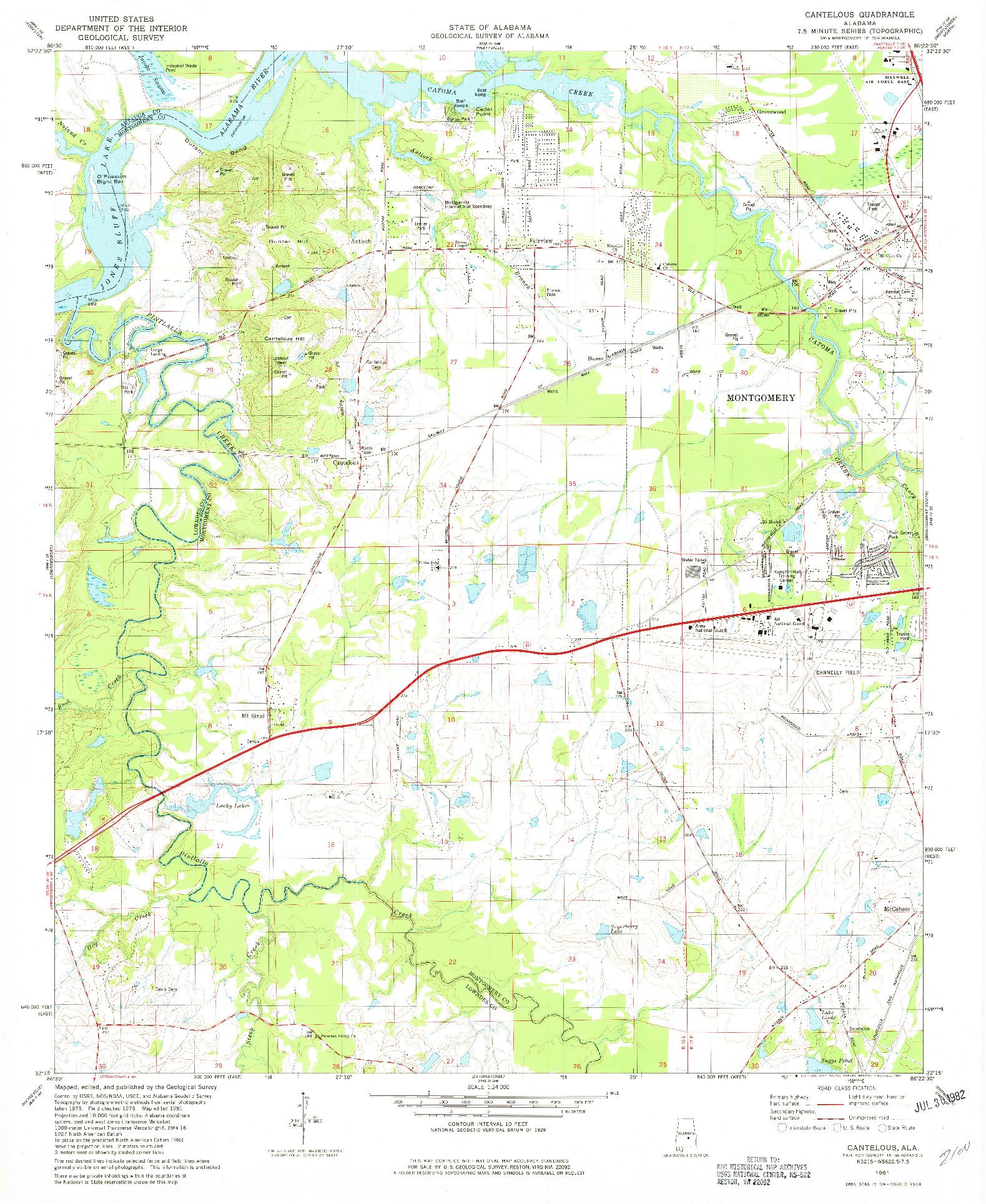 USGS 1:24000-SCALE QUADRANGLE FOR CANTELOUS, AL 1981