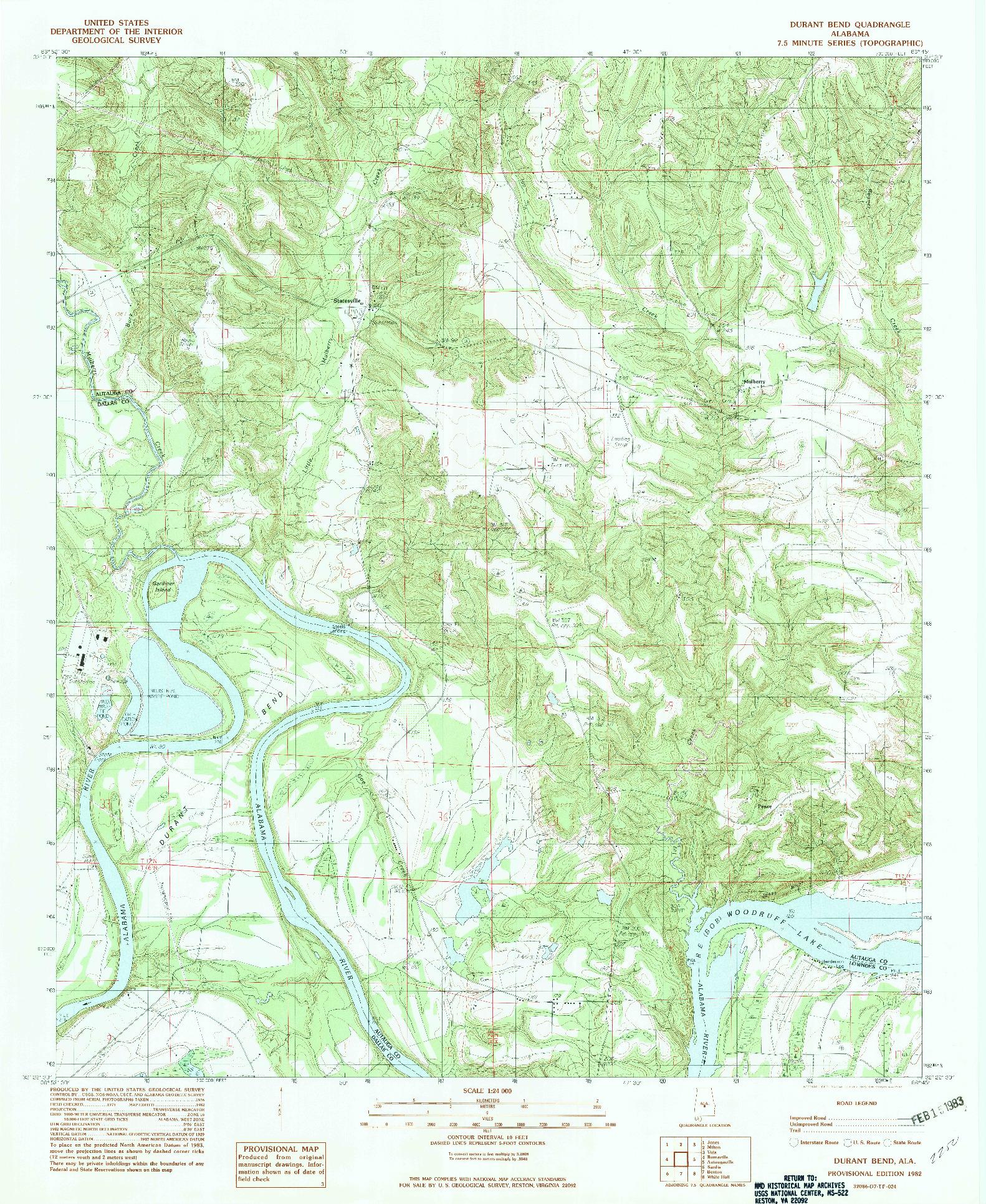 USGS 1:24000-SCALE QUADRANGLE FOR DURANT BEND, AL 1982