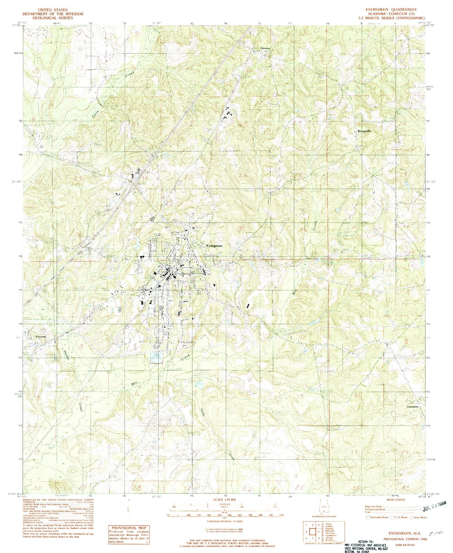 USGS 1:24000-SCALE QUADRANGLE FOR EVERGREEN, AL 1982