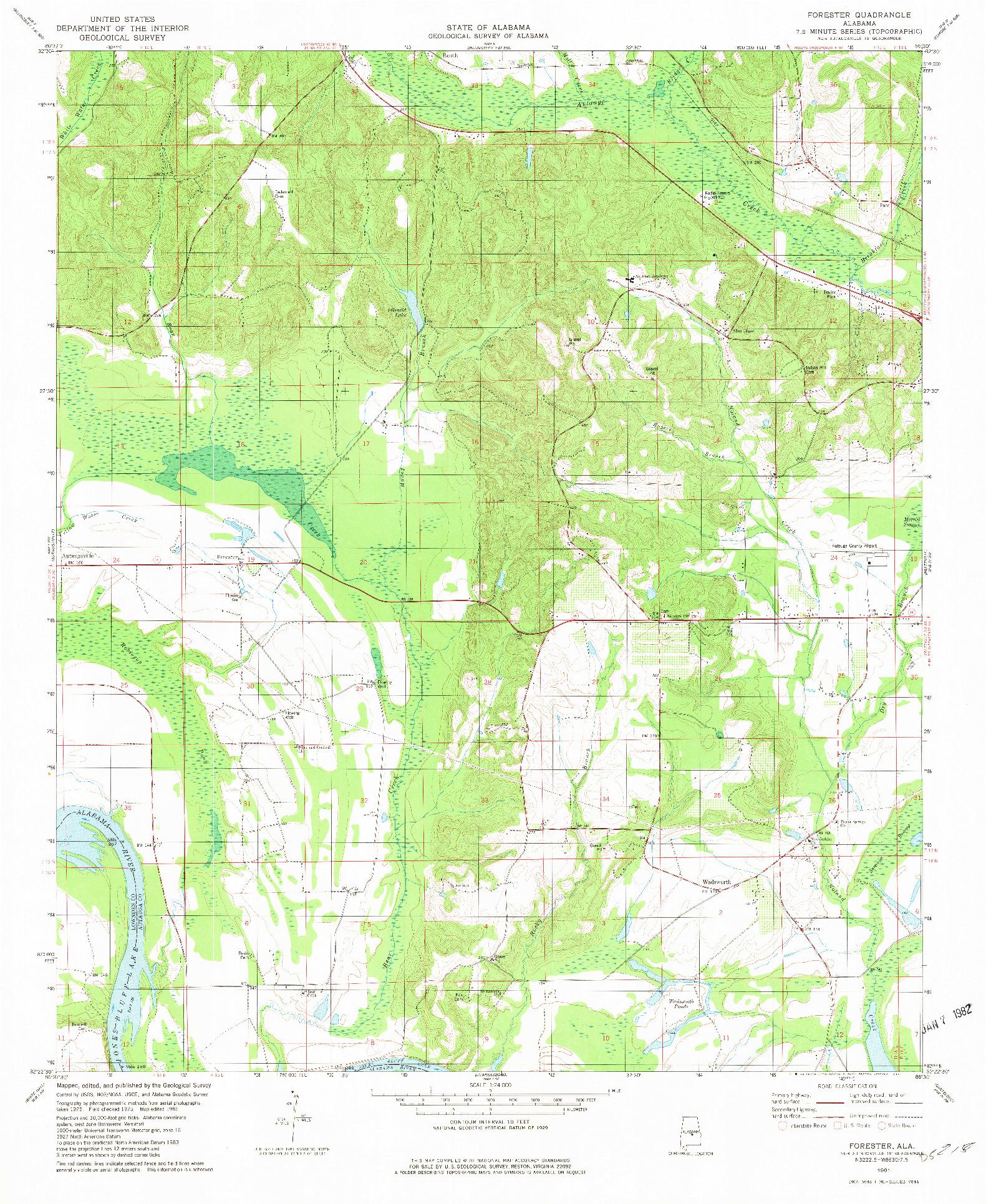 USGS 1:24000-SCALE QUADRANGLE FOR FORESTER, AL 1981