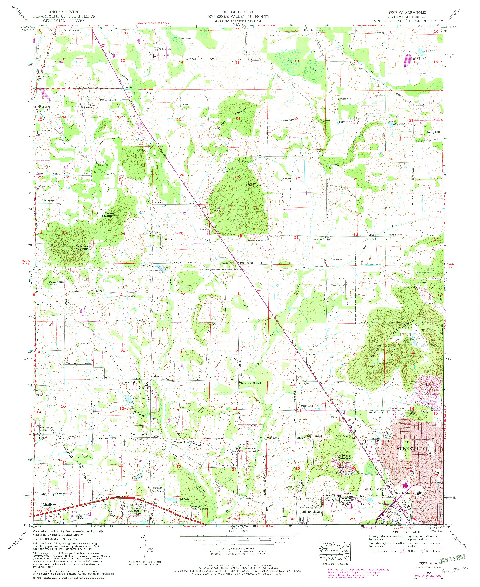 USGS 1:24000-SCALE QUADRANGLE FOR JEFF, AL 1967