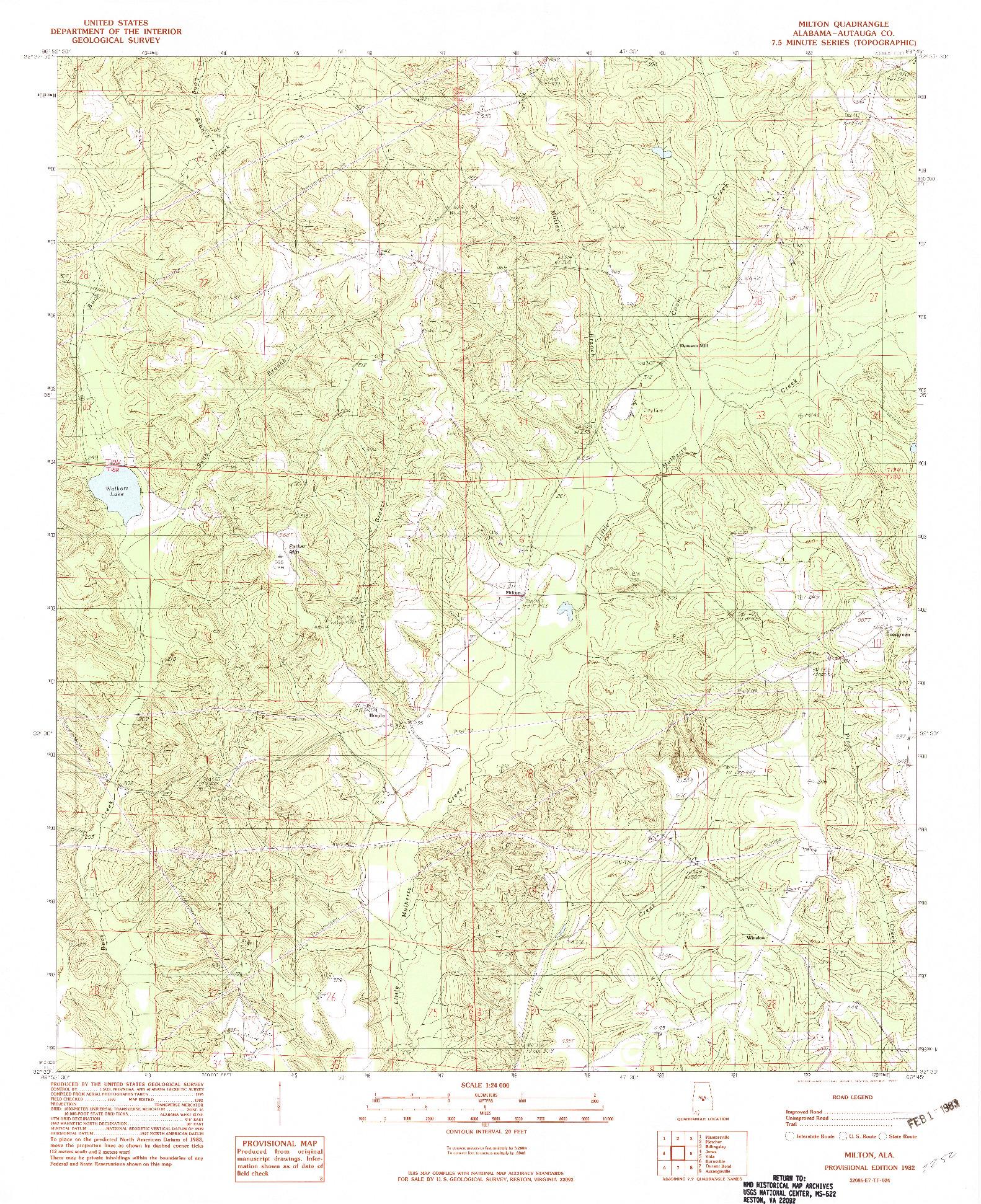 USGS 1:24000-SCALE QUADRANGLE FOR MILTON, AL 1982