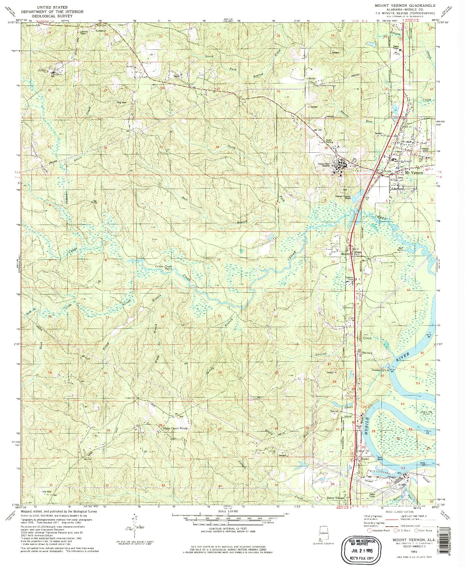 USGS 1:24000-SCALE QUADRANGLE FOR MOUNT VERNON, AL 1982