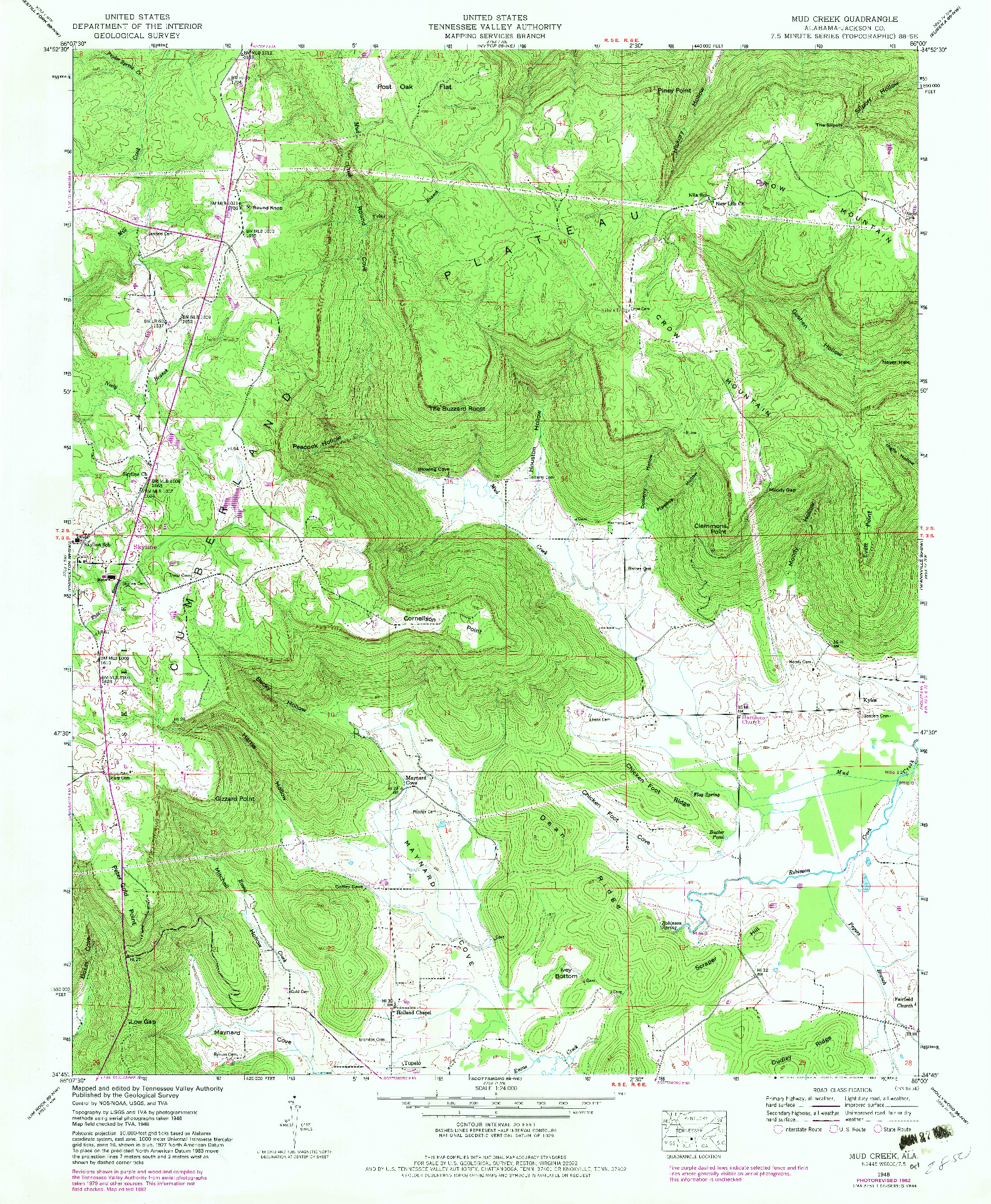 USGS 1:24000-SCALE QUADRANGLE FOR MUD CREEK, AL 1948