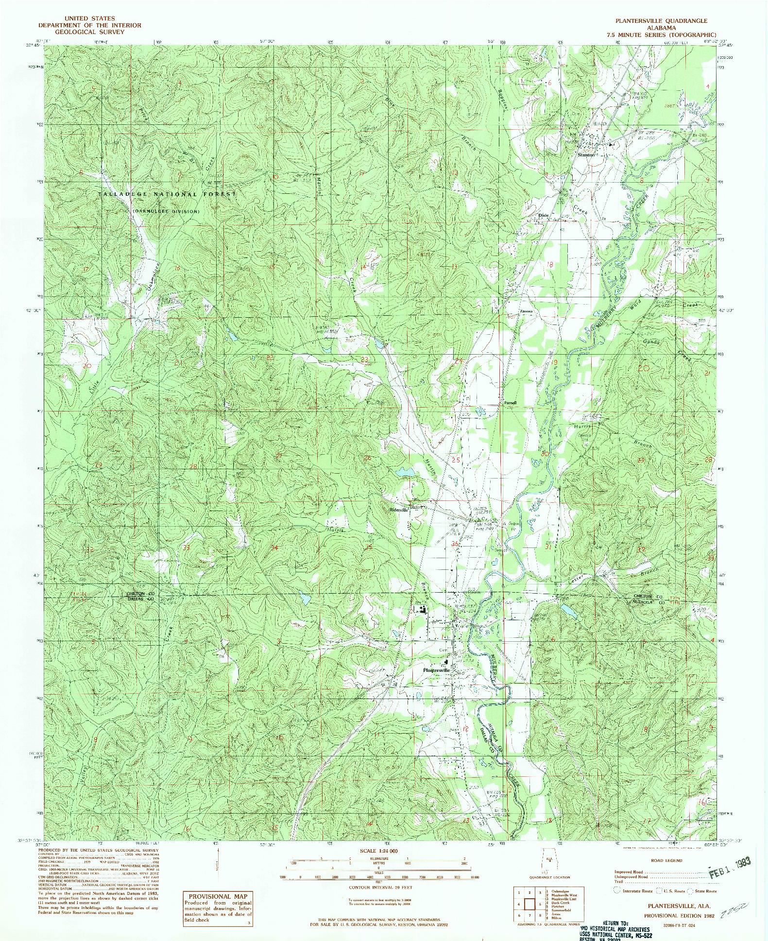 USGS 1:24000-SCALE QUADRANGLE FOR PLANTERSVILLE, AL 1982