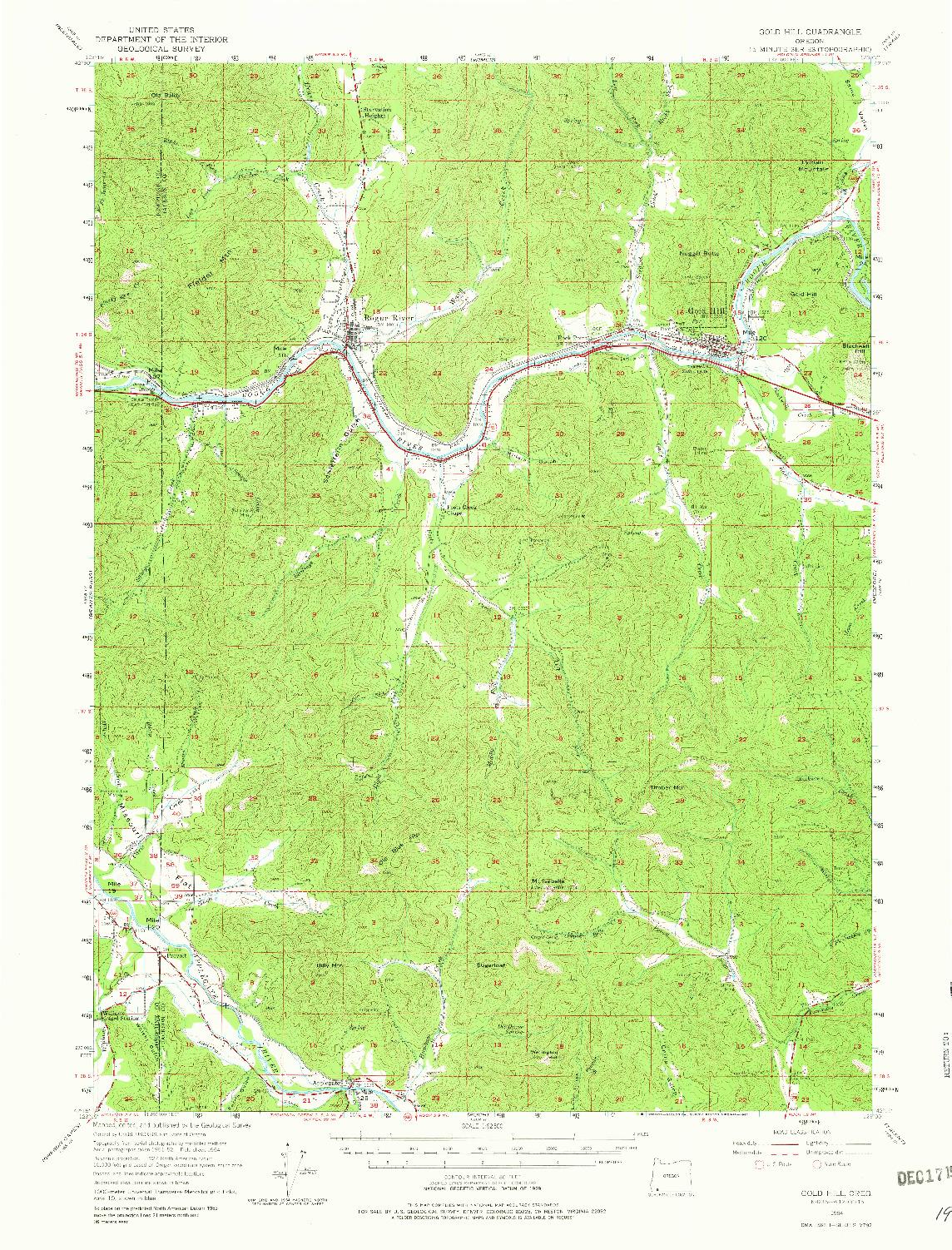 USGS 1:62500-SCALE QUADRANGLE FOR GOLD HILL, OR 1954