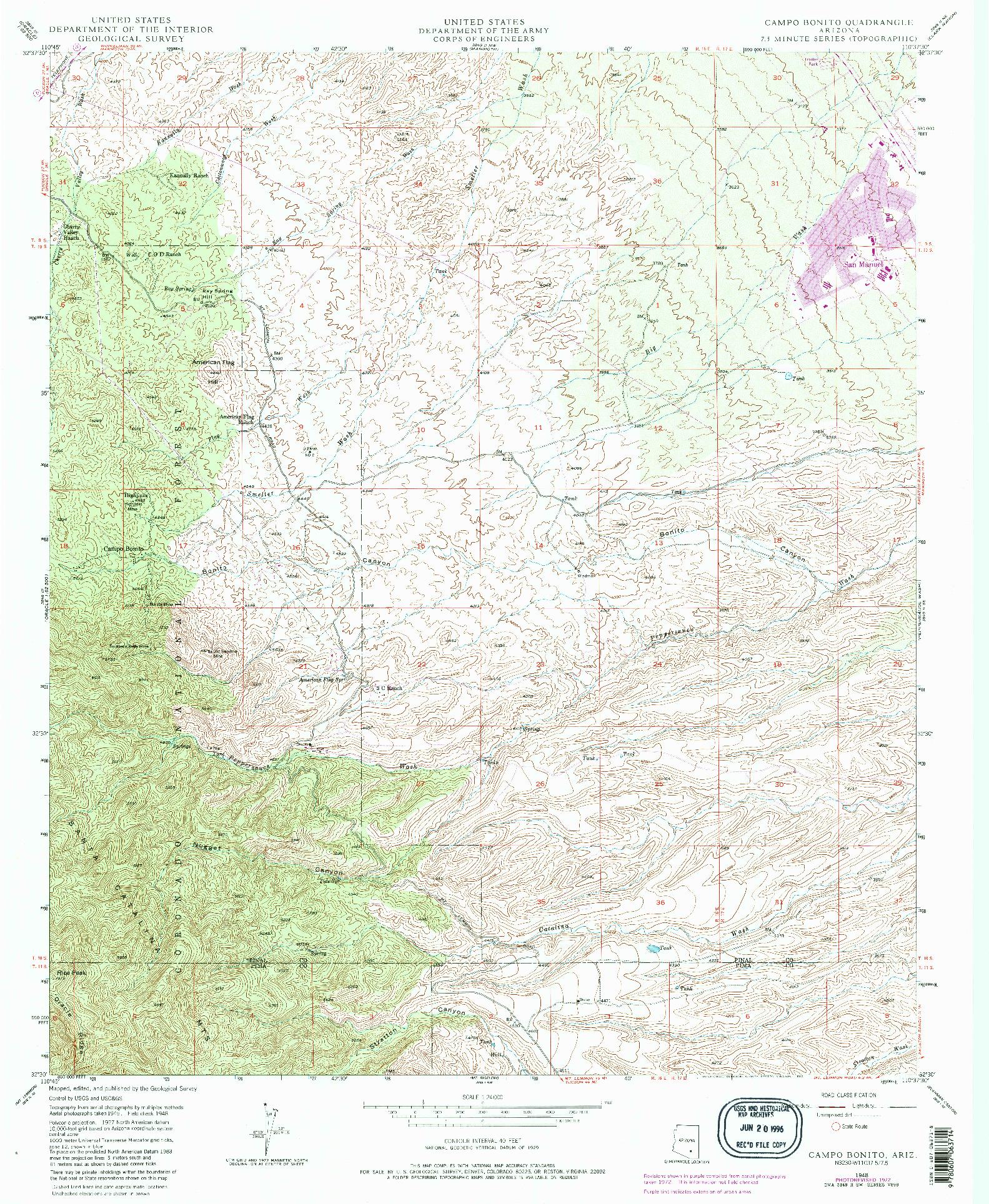 USGS 1:24000-SCALE QUADRANGLE FOR CAMPO BONITO, AZ 1948