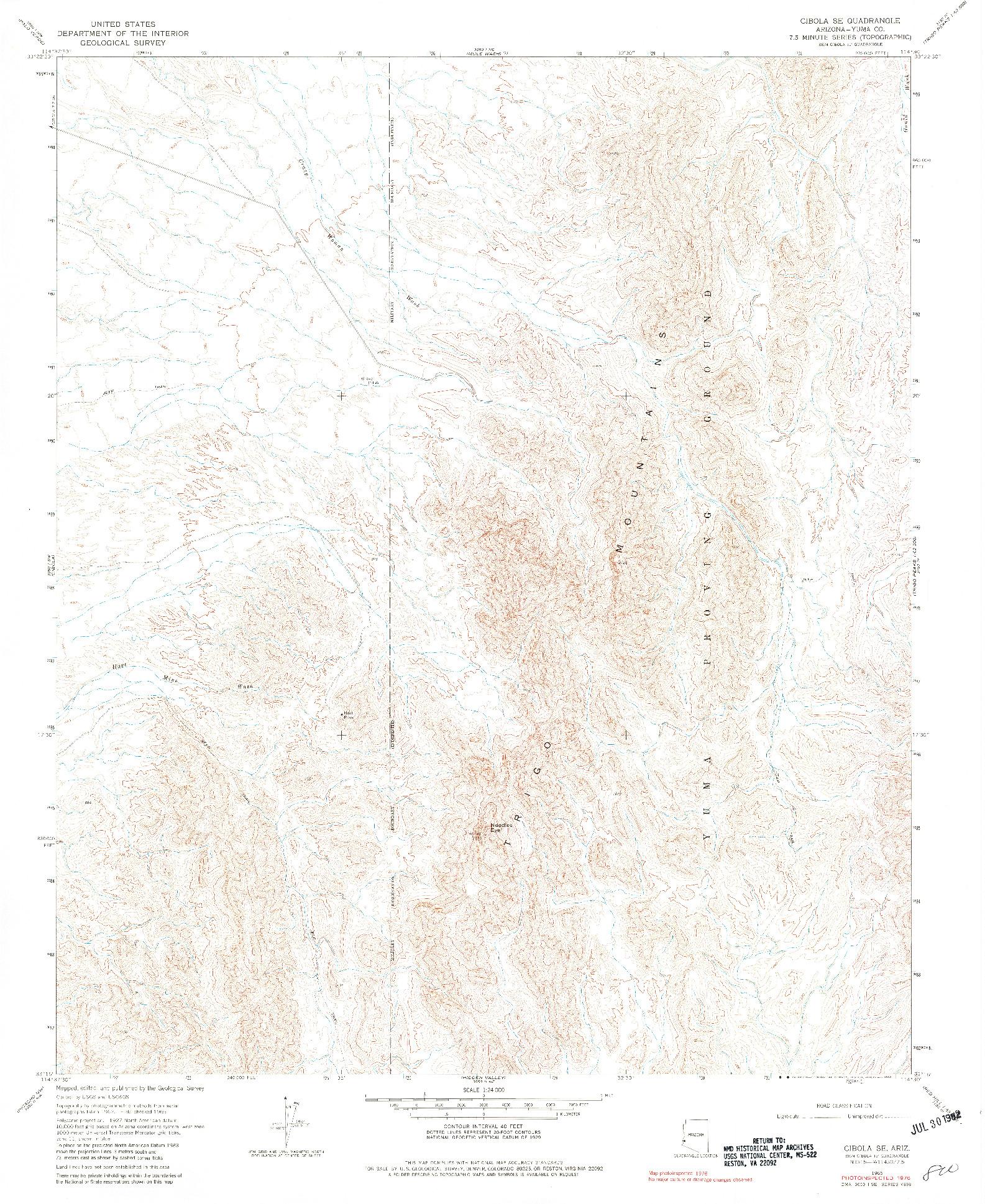 USGS 1:24000-SCALE QUADRANGLE FOR CIBOLA SE, AZ 1965