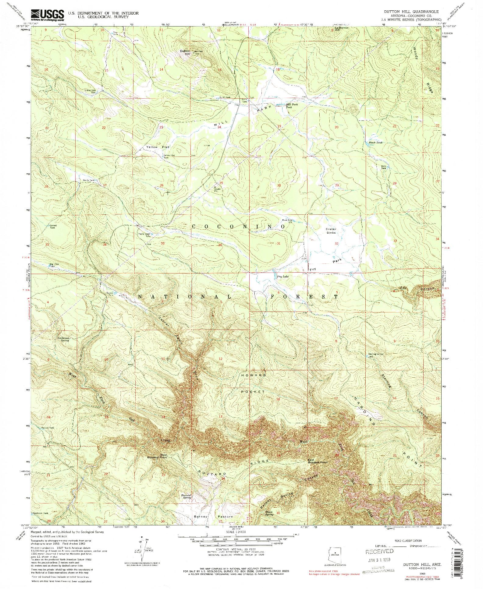 USGS 1:24000-SCALE QUADRANGLE FOR DUTTON HILL, AZ 1963