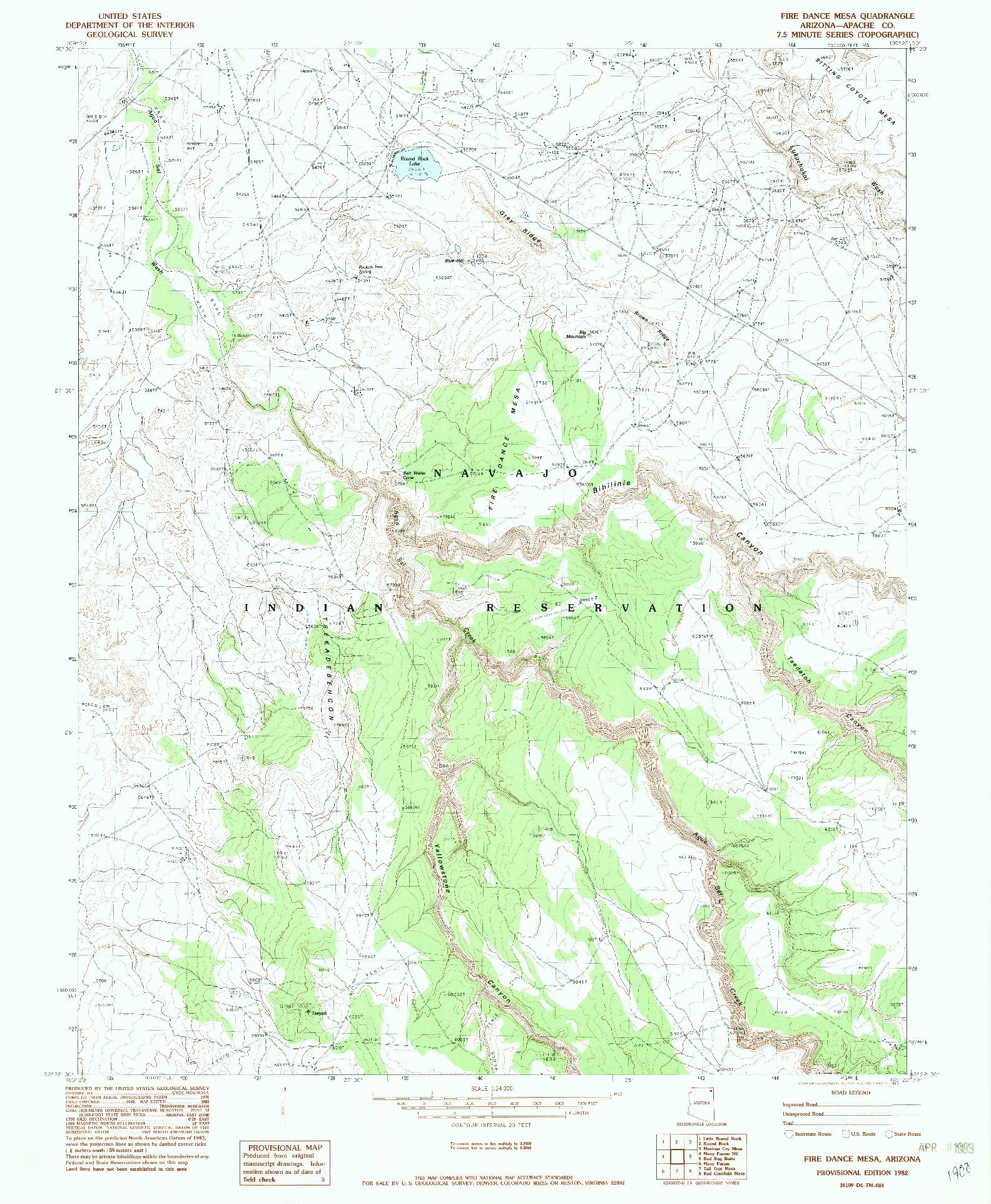 USGS 1:24000-SCALE QUADRANGLE FOR FIRE DANCE MESA, AZ 1982