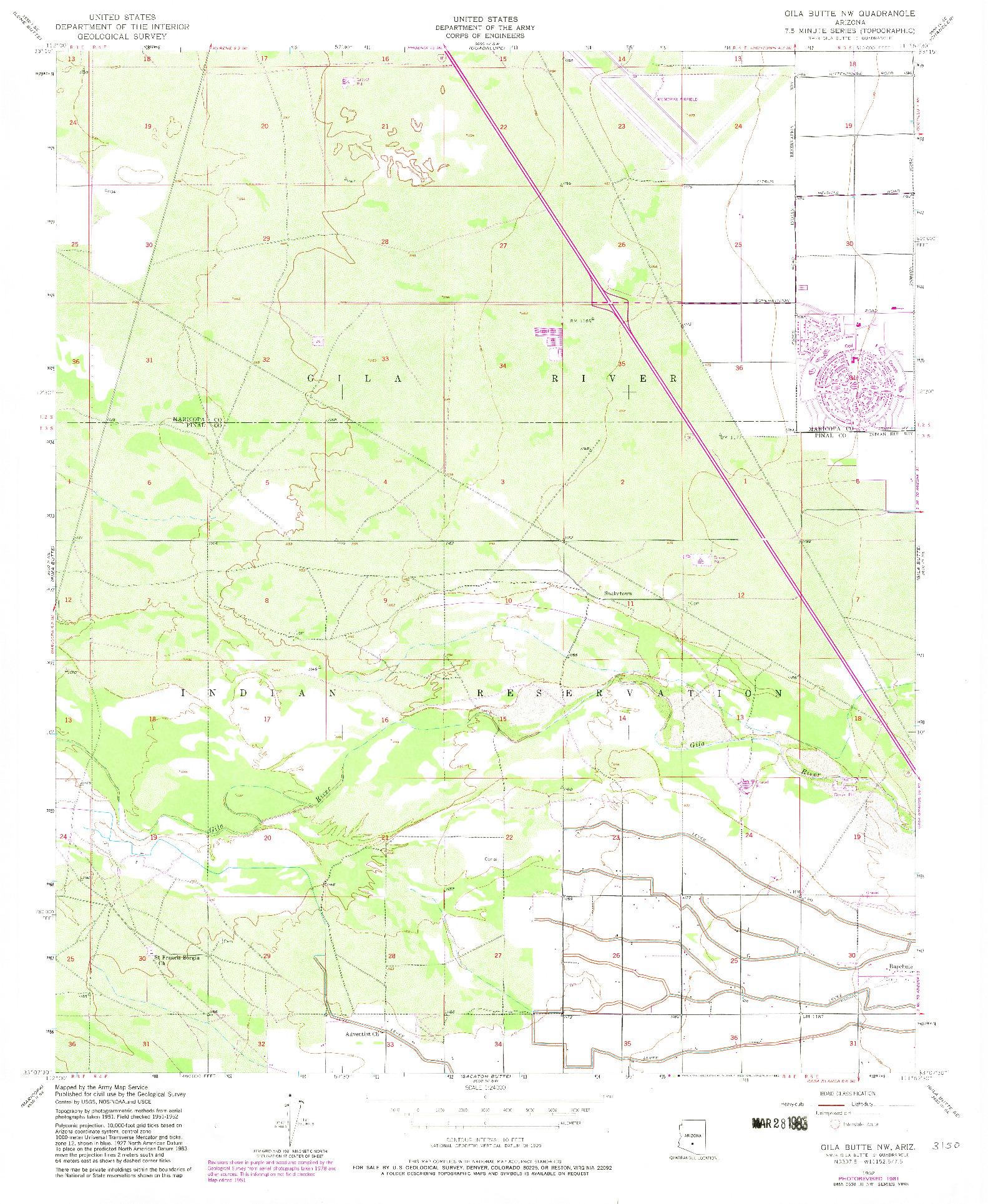 USGS 1:24000-SCALE QUADRANGLE FOR GILA BUTTE NW, AZ 1952