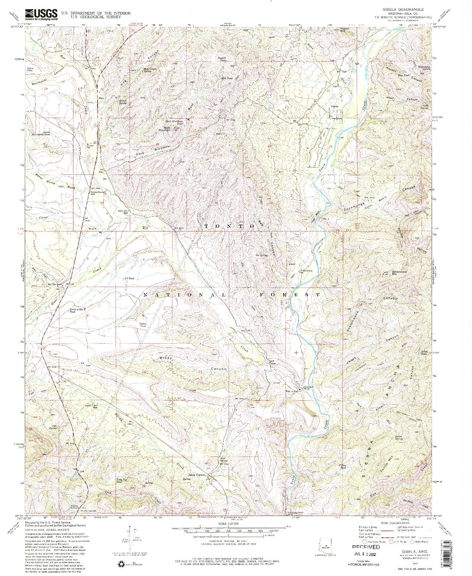 USGS 1:24000-SCALE QUADRANGLE FOR GISELA, AZ 1972