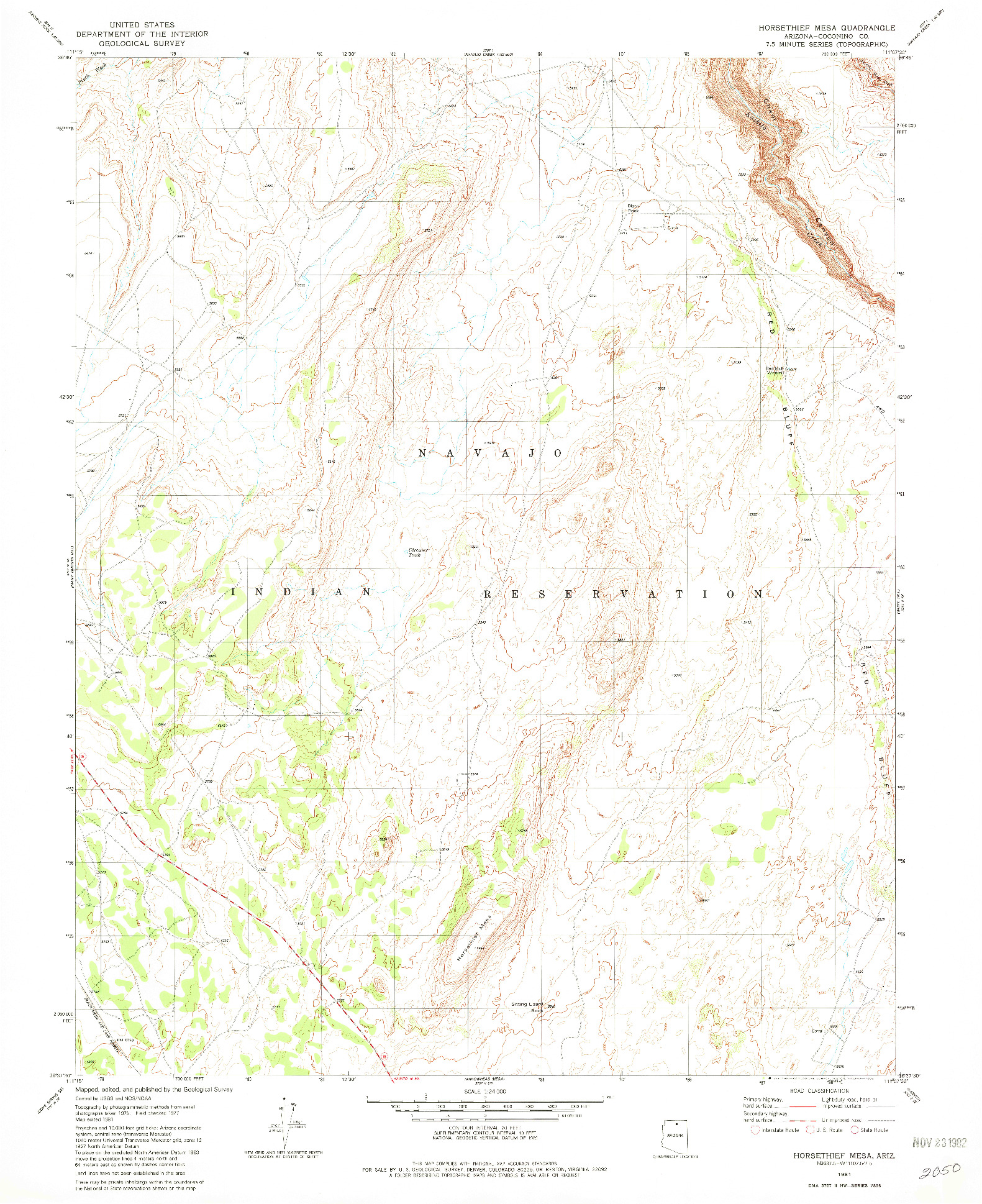 USGS 1:24000-SCALE QUADRANGLE FOR HORSETHIEF MESA, AZ 1981