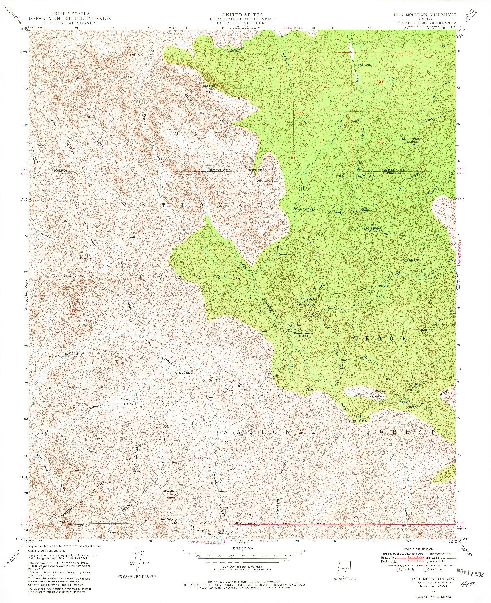 USGS 1:24000-SCALE QUADRANGLE FOR IRON MOUNTAIN, AZ 1948