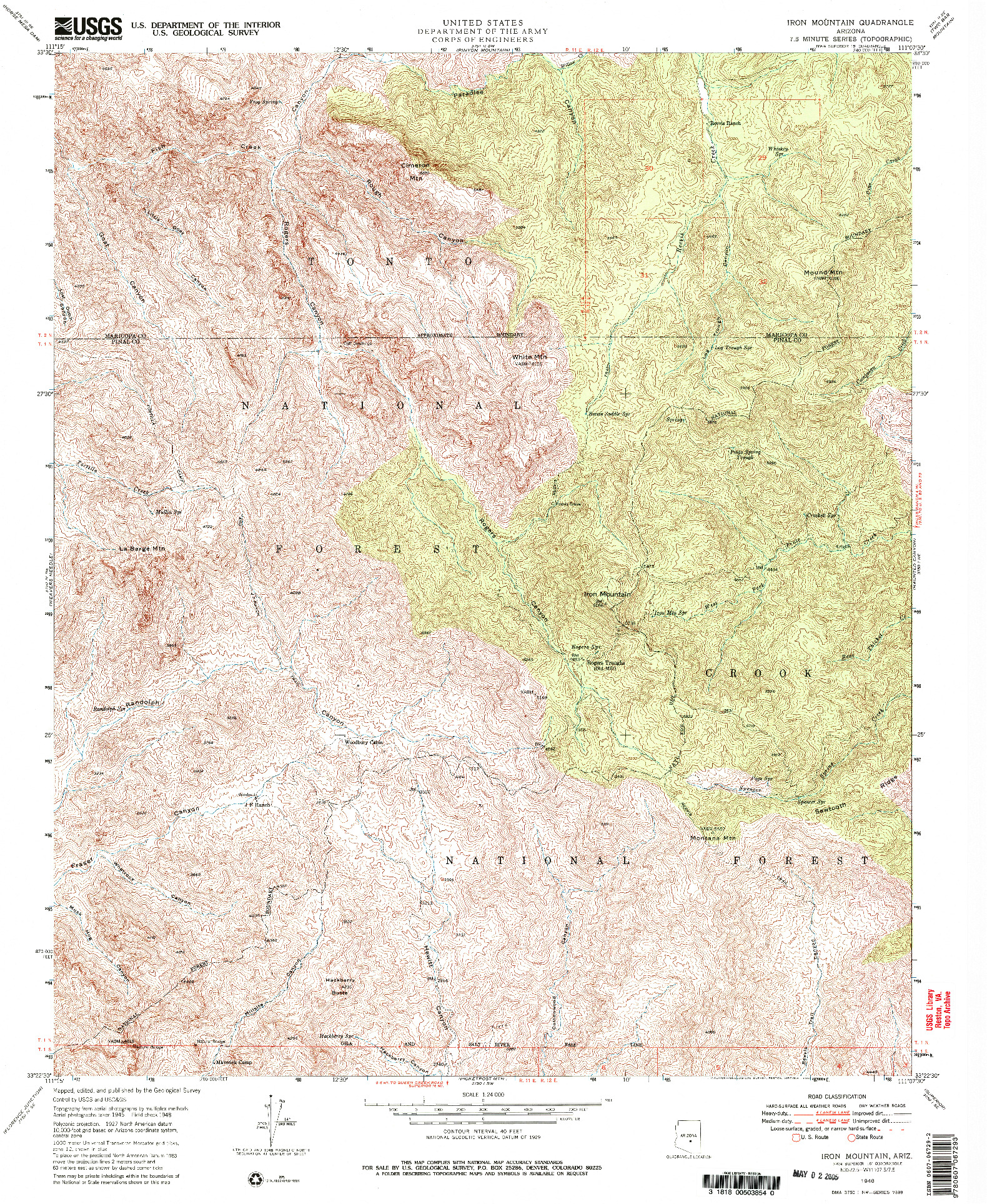 USGS 1:24000-SCALE QUADRANGLE FOR IRON MOUNTAIN, AZ 1948