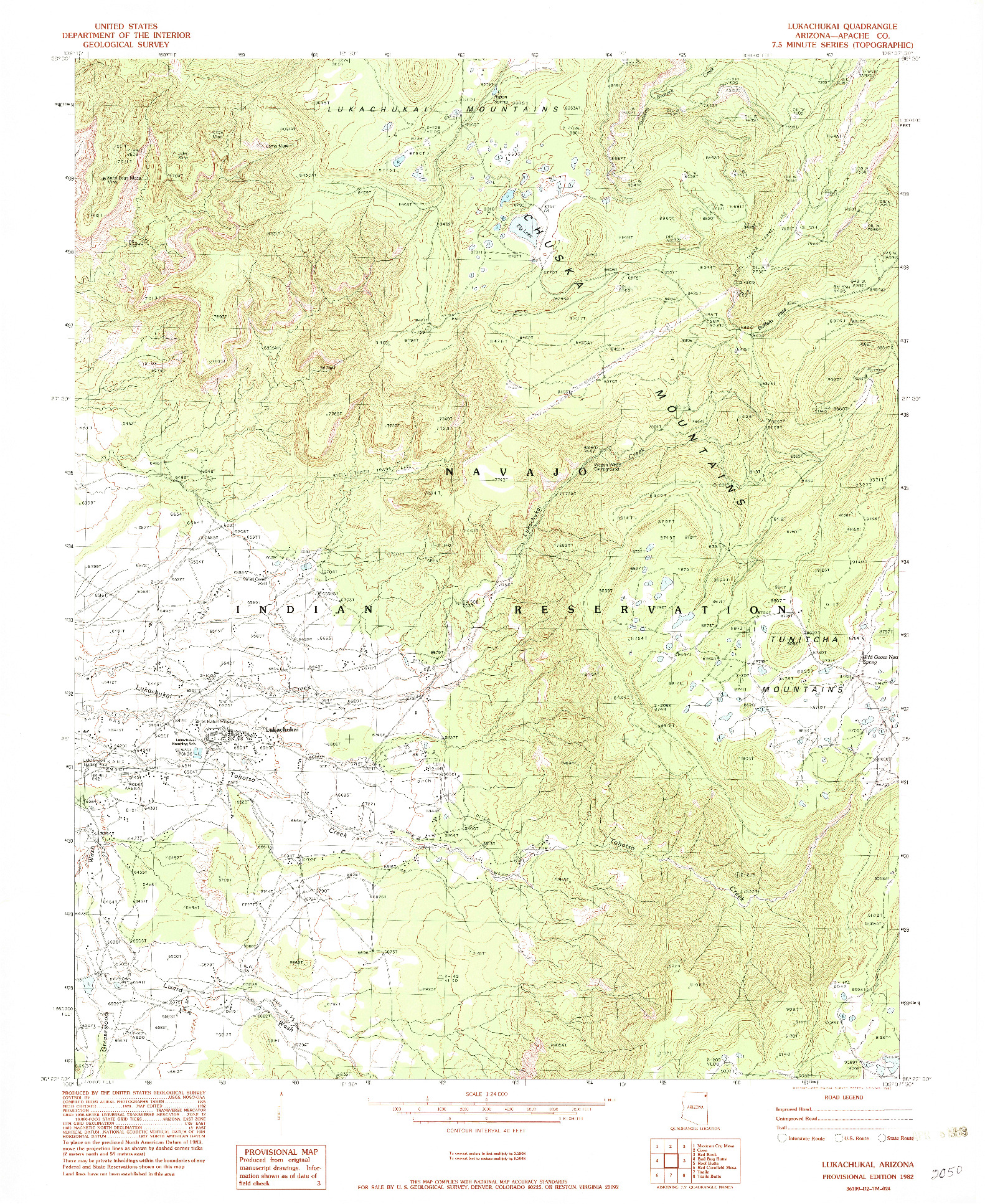 USGS 1:24000-SCALE QUADRANGLE FOR LUKACHUKAI, AZ 1982