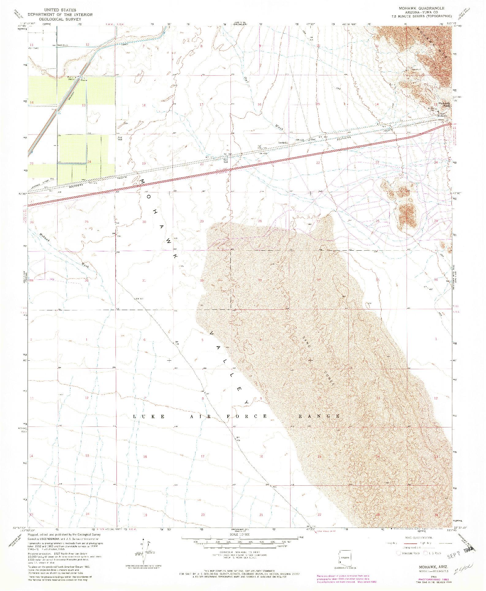 USGS 1:24000-SCALE QUADRANGLE FOR MOHAWK, AZ 1965