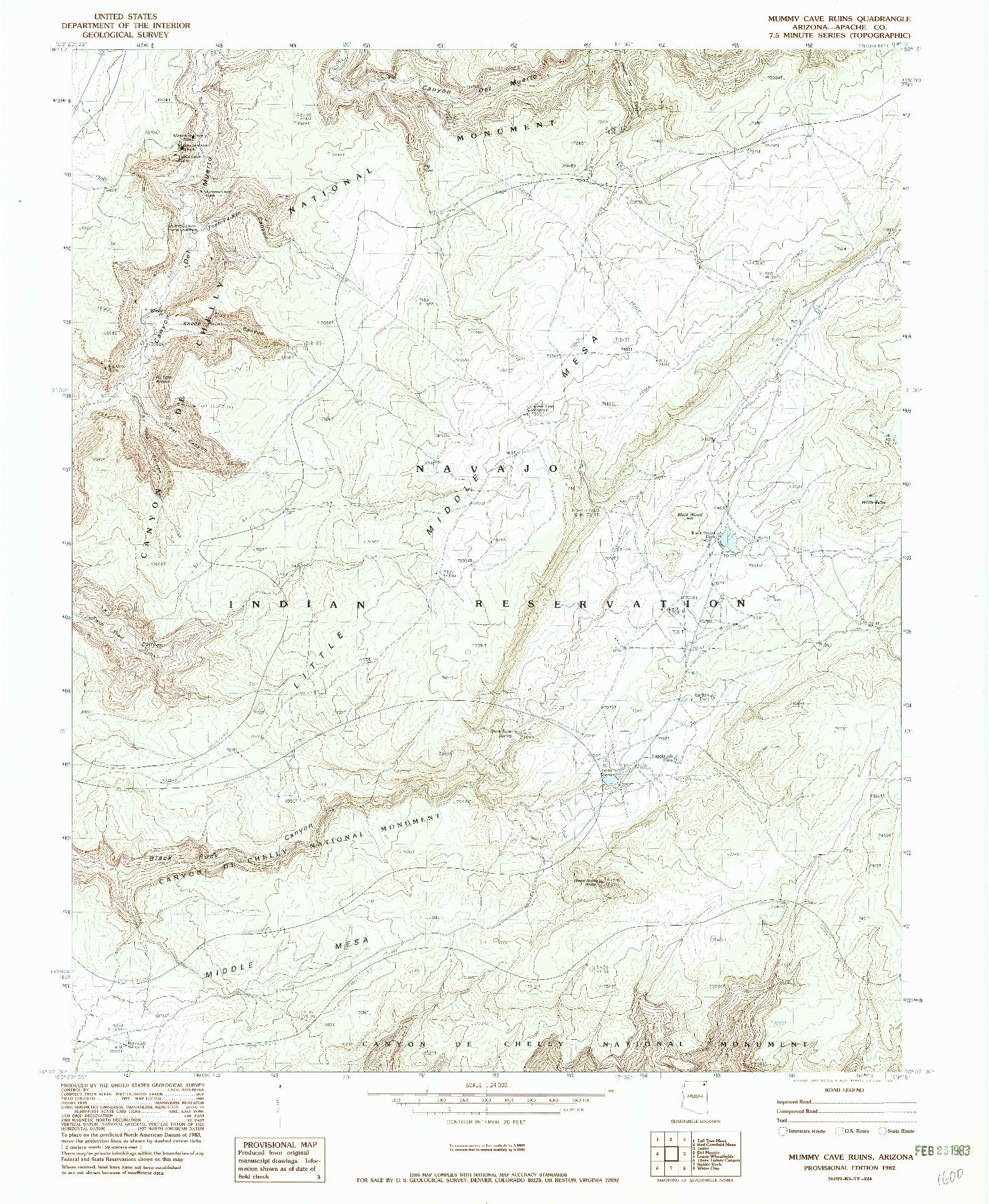 USGS 1:24000-SCALE QUADRANGLE FOR MUMMY CAVE RUINS, AZ 1982