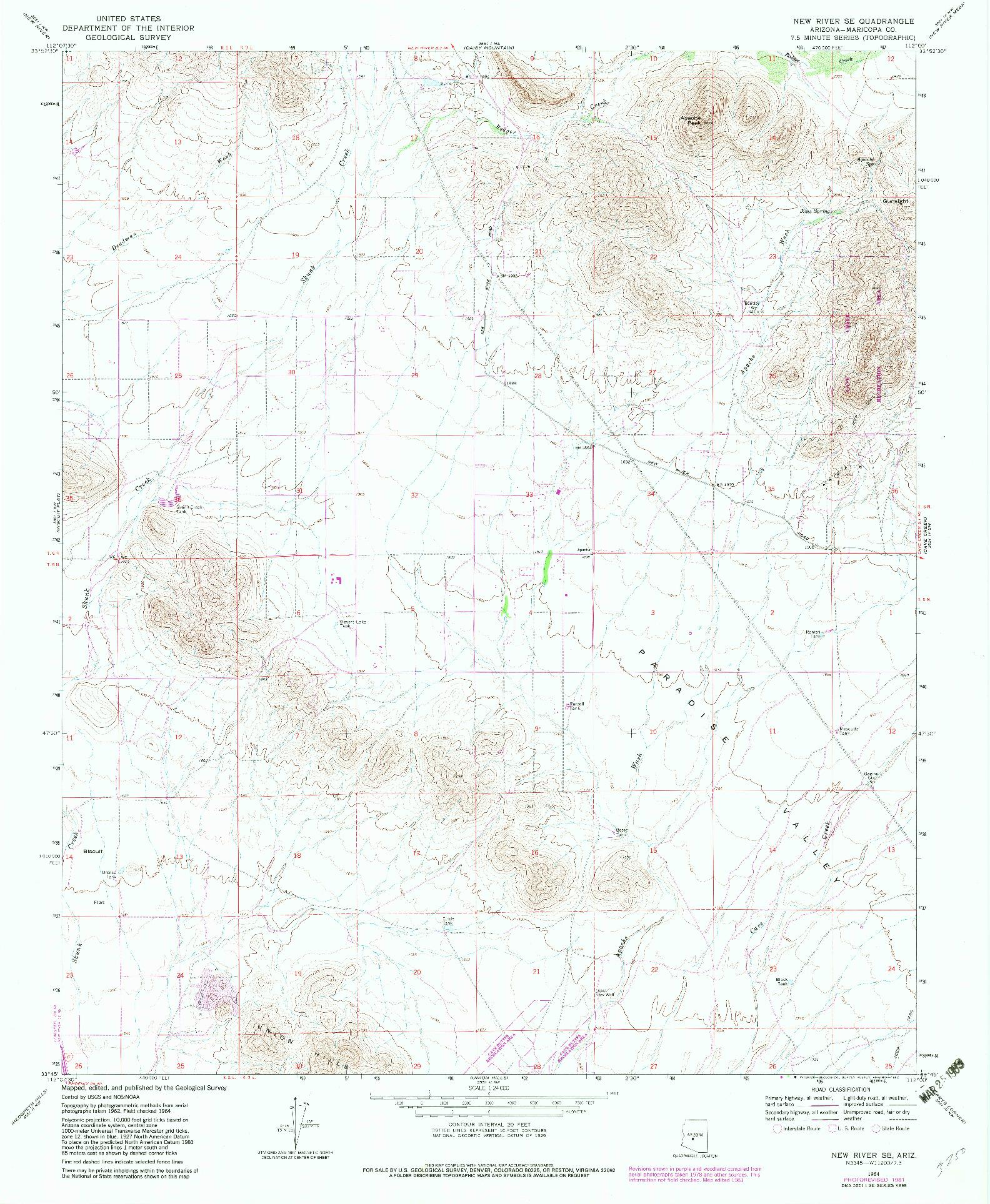 USGS 1:24000-SCALE QUADRANGLE FOR NEW RIVER SE, AZ 1964