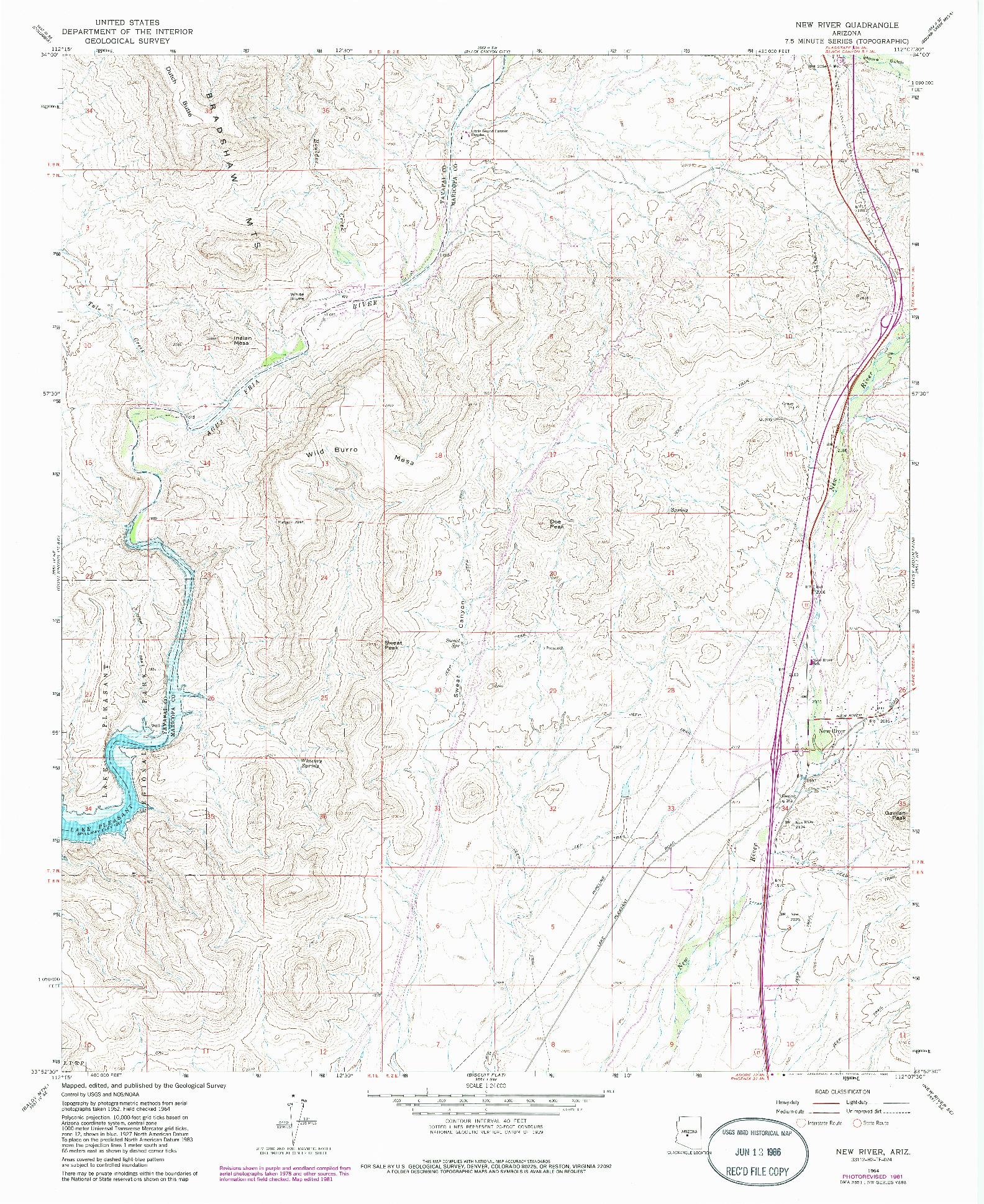 USGS 1:24000-SCALE QUADRANGLE FOR NEW RIVER, AZ 1964