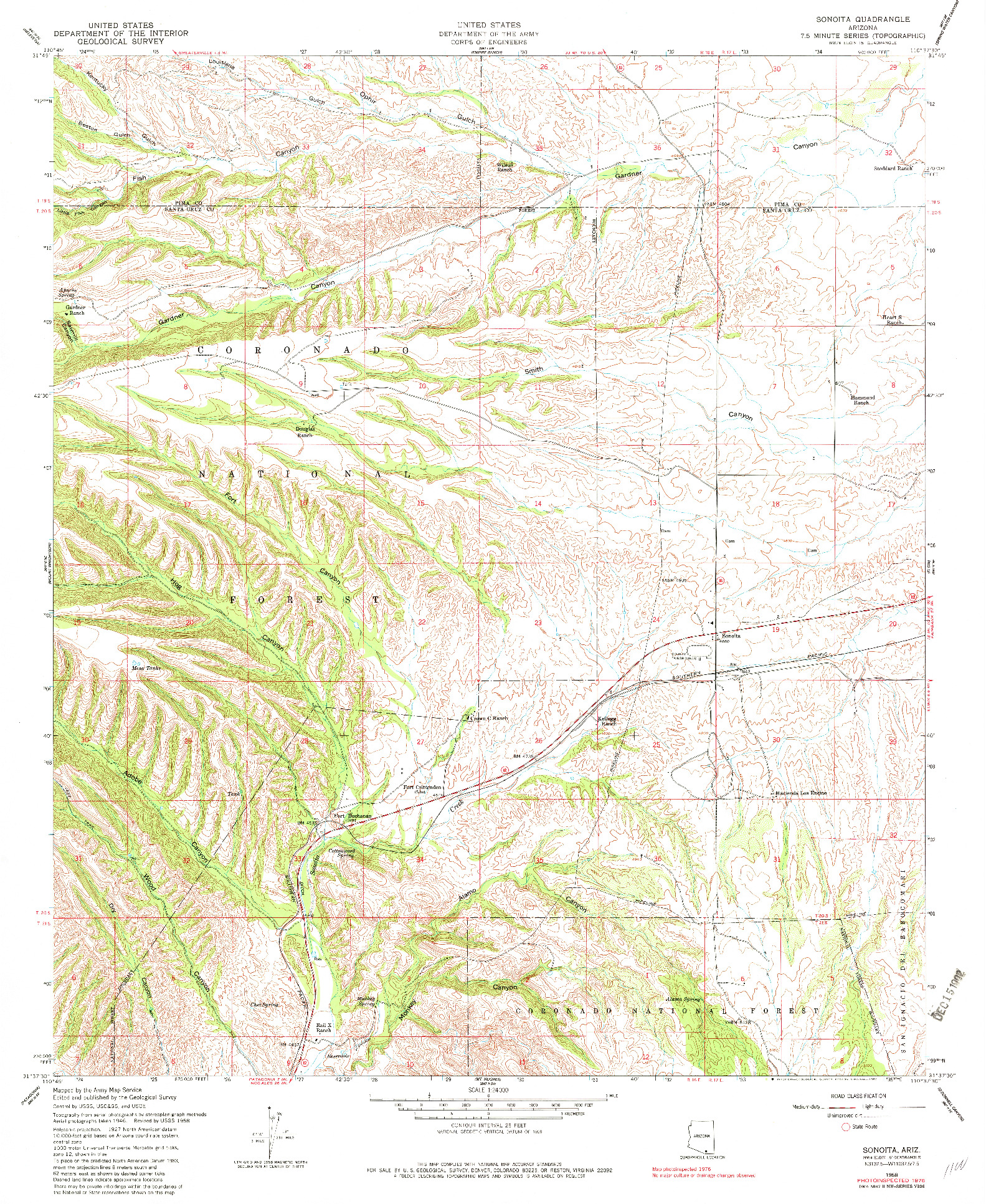 USGS 1:24000-SCALE QUADRANGLE FOR SONOITA, AZ 1958