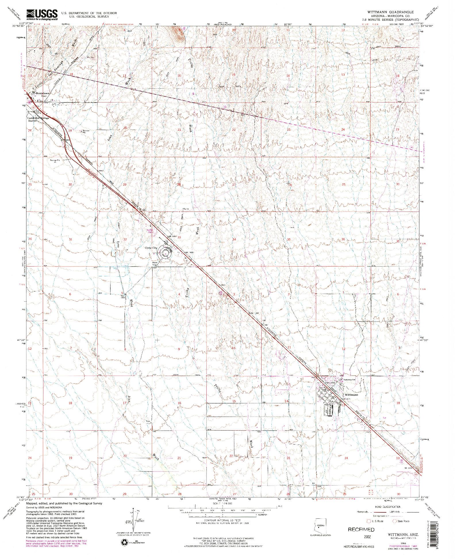 USGS 1:24000-SCALE QUADRANGLE FOR WITTMANN, AZ 1965