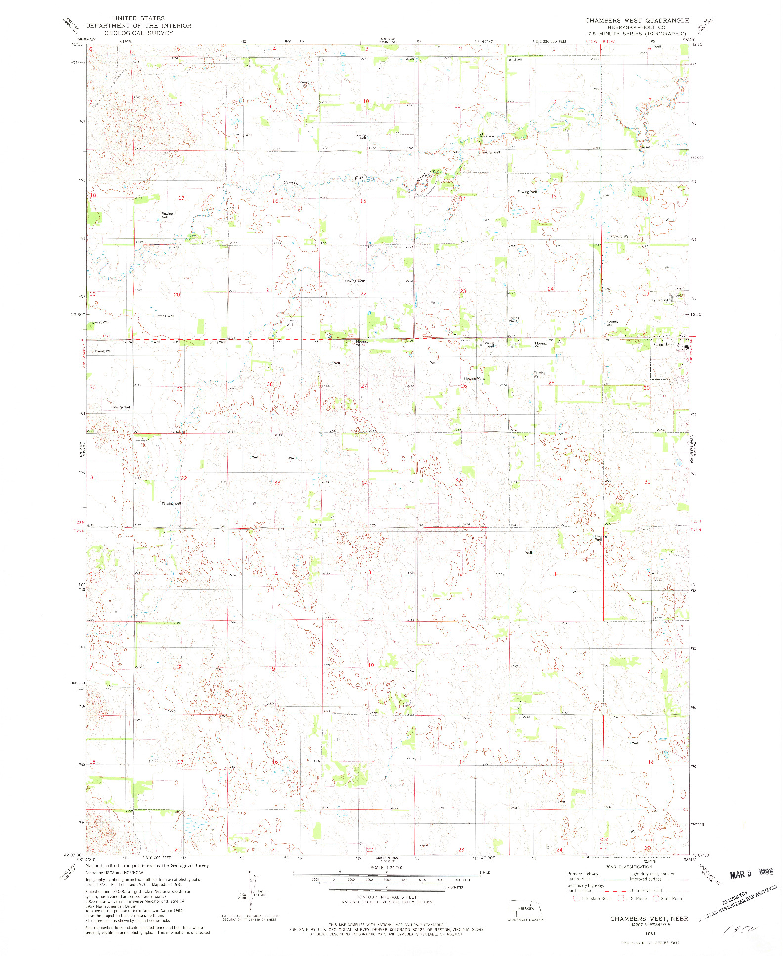 USGS 1:24000-SCALE QUADRANGLE FOR CHAMBERS WEST, NE 1981
