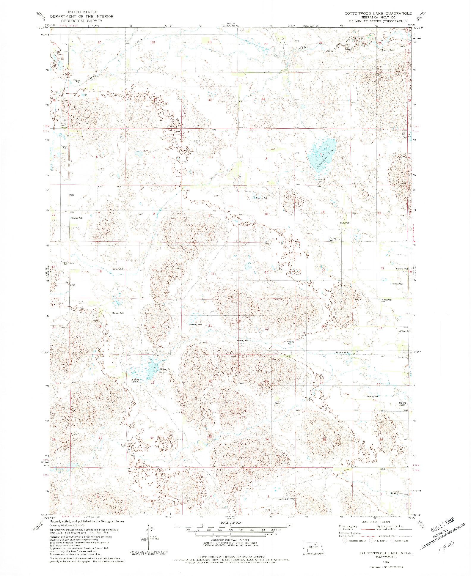 USGS 1:24000-SCALE QUADRANGLE FOR COTTONWOOD LAKE, NE 1982