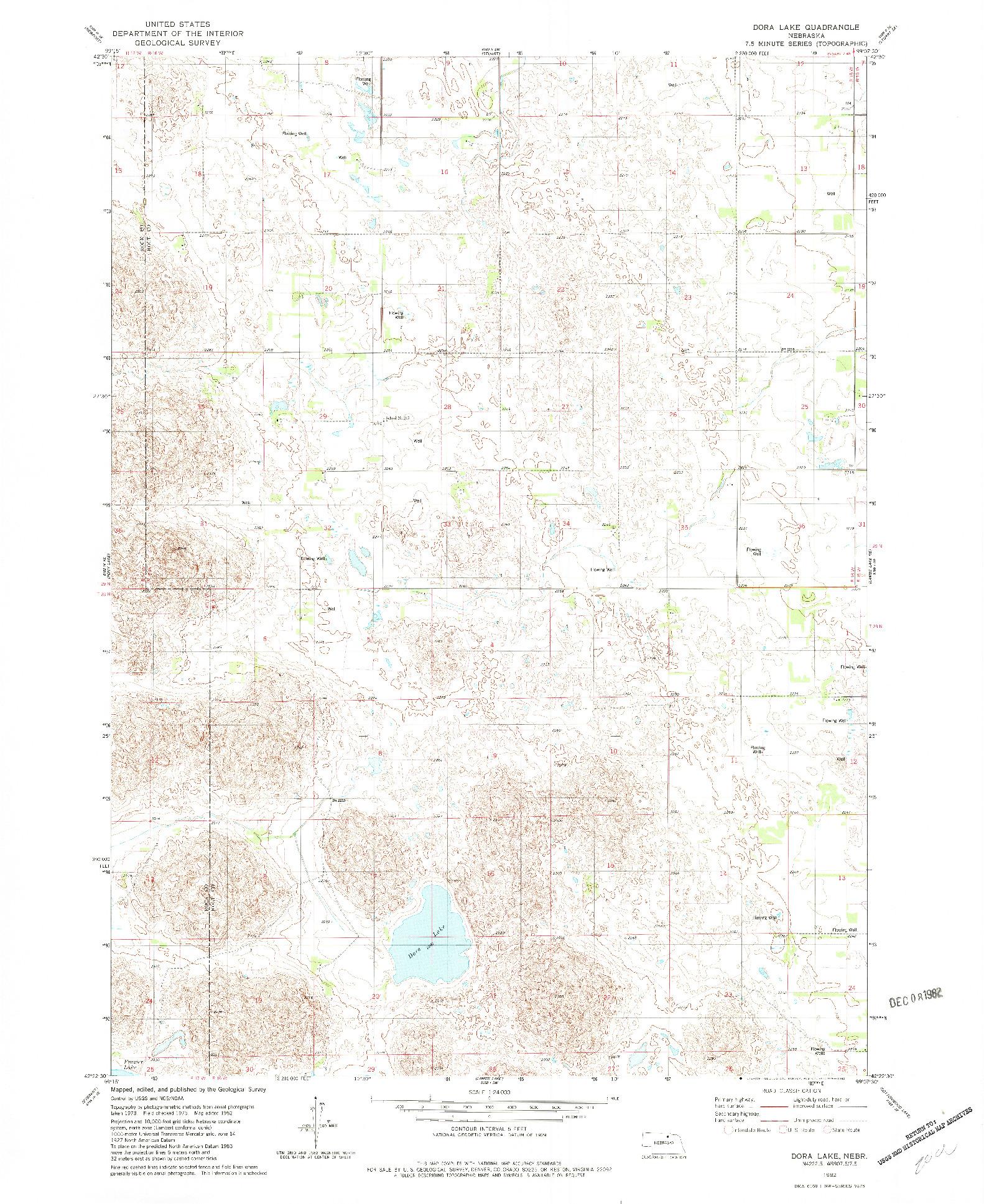 USGS 1:24000-SCALE QUADRANGLE FOR DORA LAKE, NE 1982