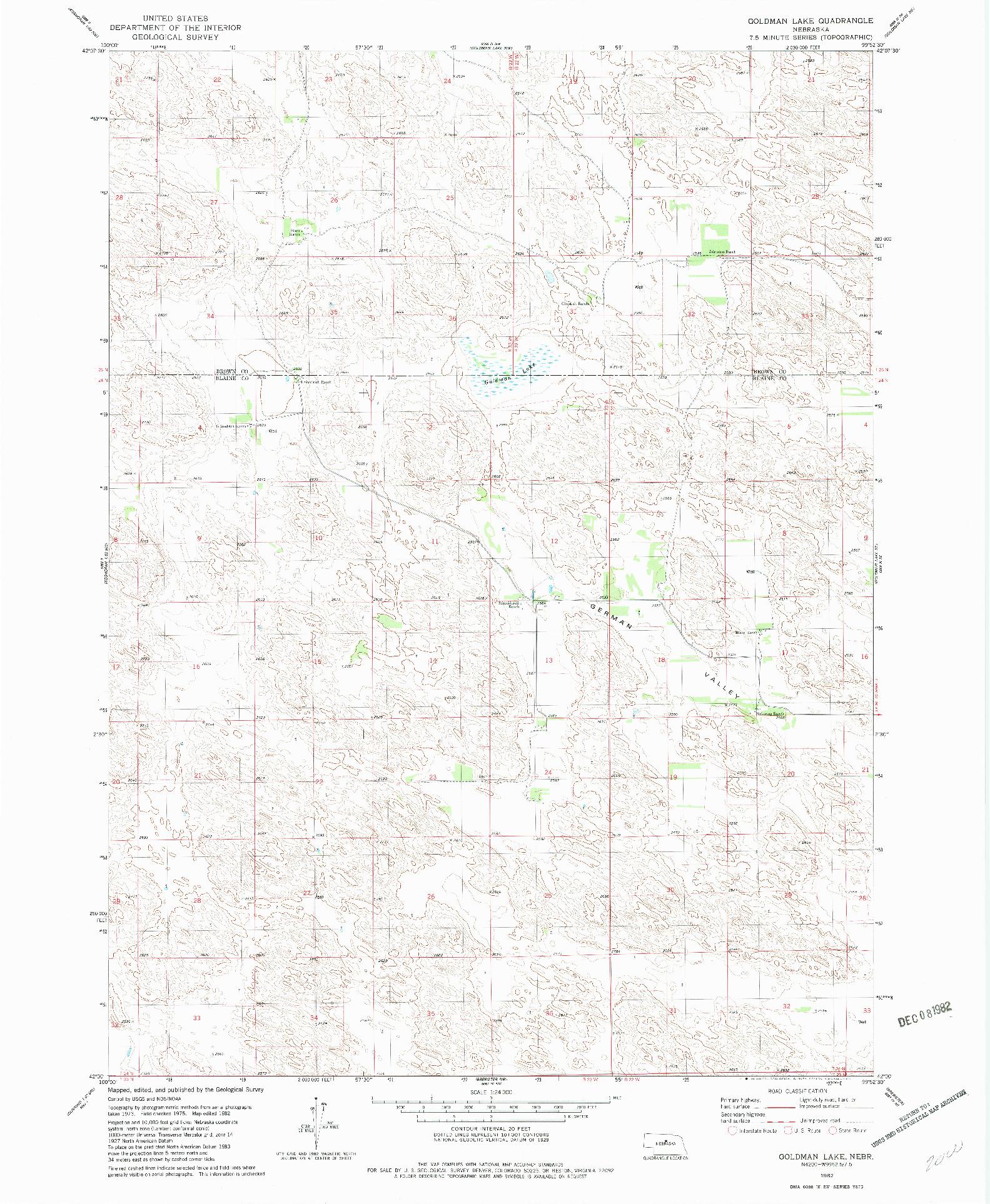 USGS 1:24000-SCALE QUADRANGLE FOR GOLDMAN LAKE, NE 1982