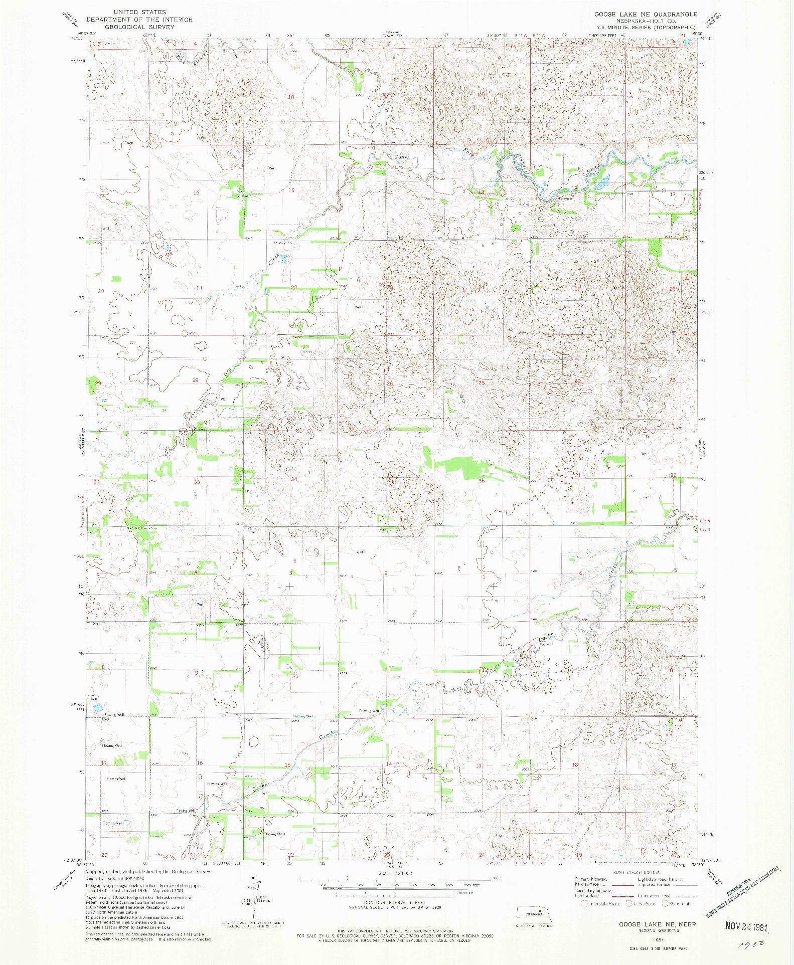 USGS 1:24000-SCALE QUADRANGLE FOR GOOSE LAKE NE, NE 1981