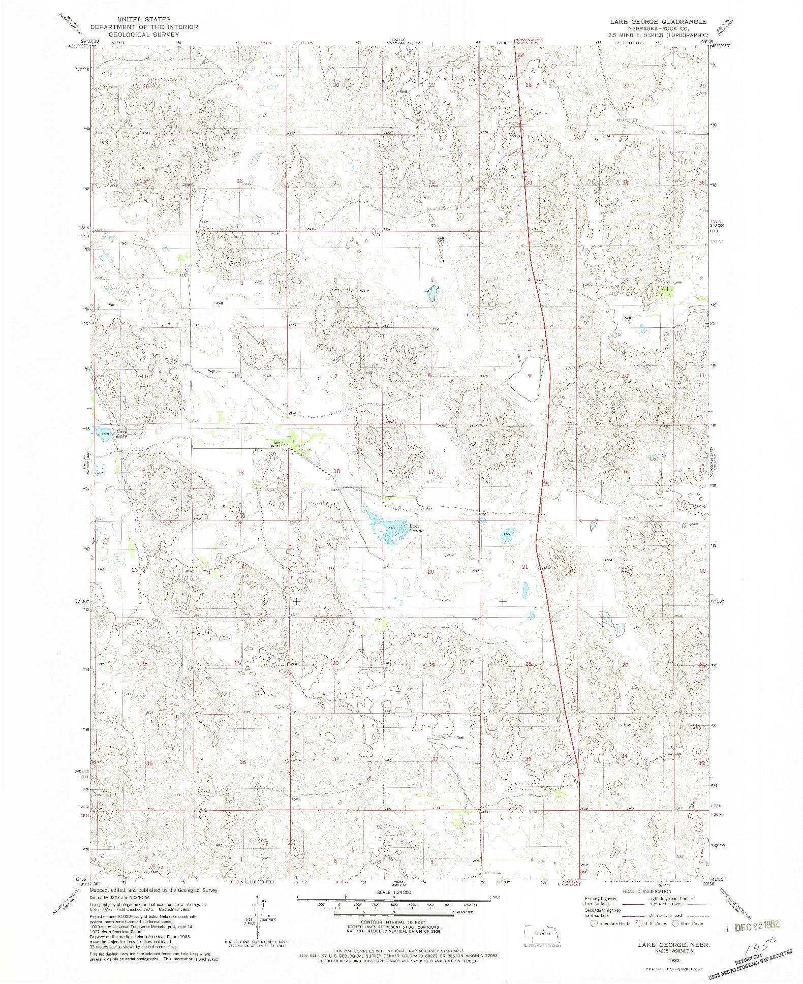 USGS 1:24000-SCALE QUADRANGLE FOR LAKE GEORGE, NE 1982
