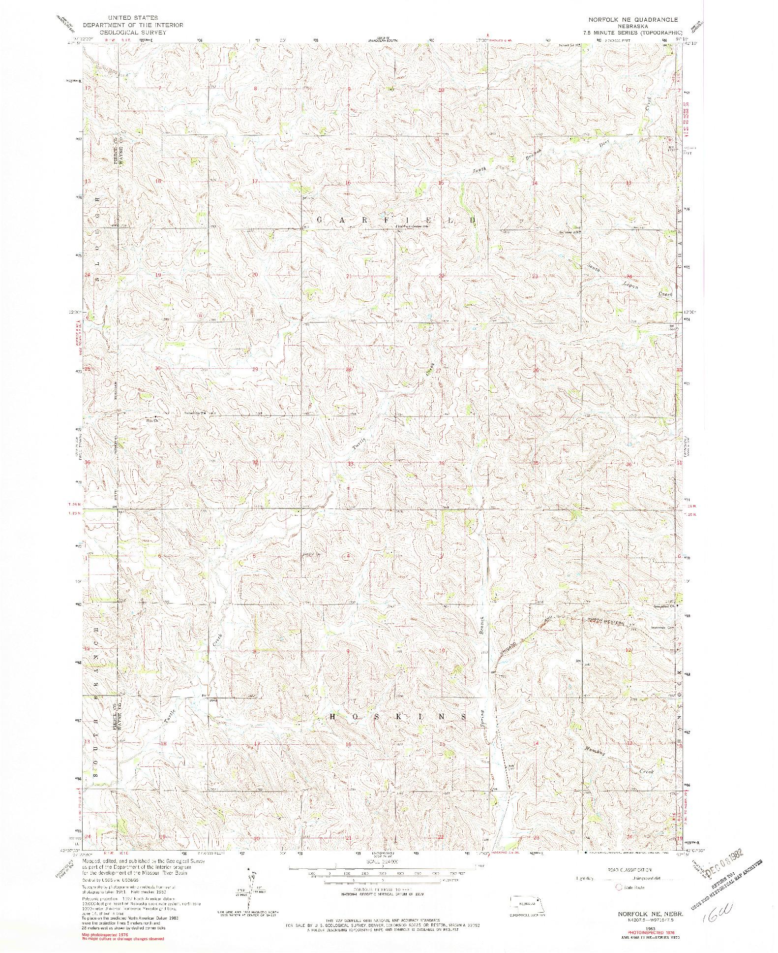 USGS 1:24000-SCALE QUADRANGLE FOR NORFOLK NE, NE 1963