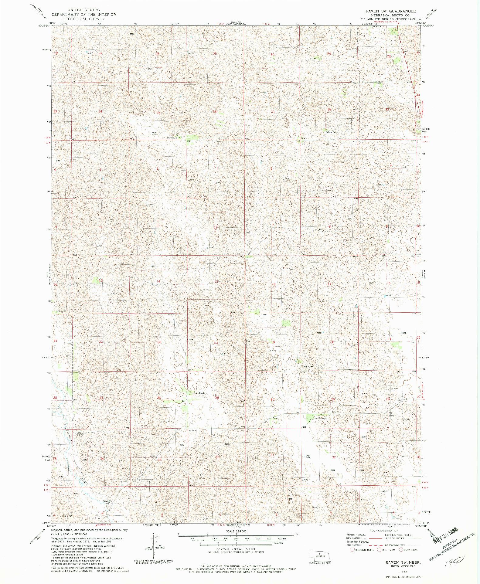 USGS 1:24000-SCALE QUADRANGLE FOR RAVEN SW, NE 1982