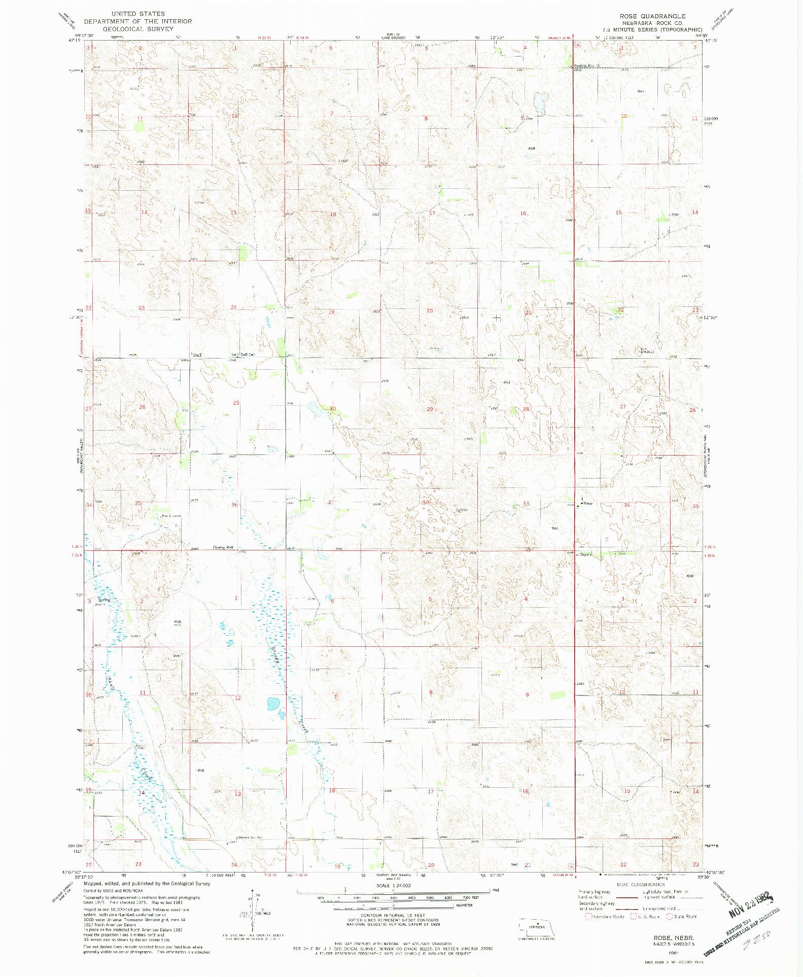 USGS 1:24000-SCALE QUADRANGLE FOR ROSE, NE 1981