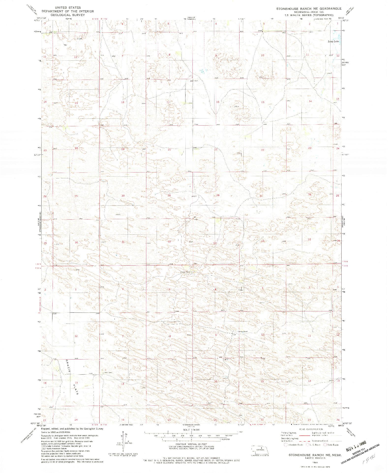 USGS 1:24000-SCALE QUADRANGLE FOR STONEHOUSE RANCH NE, NE 1981