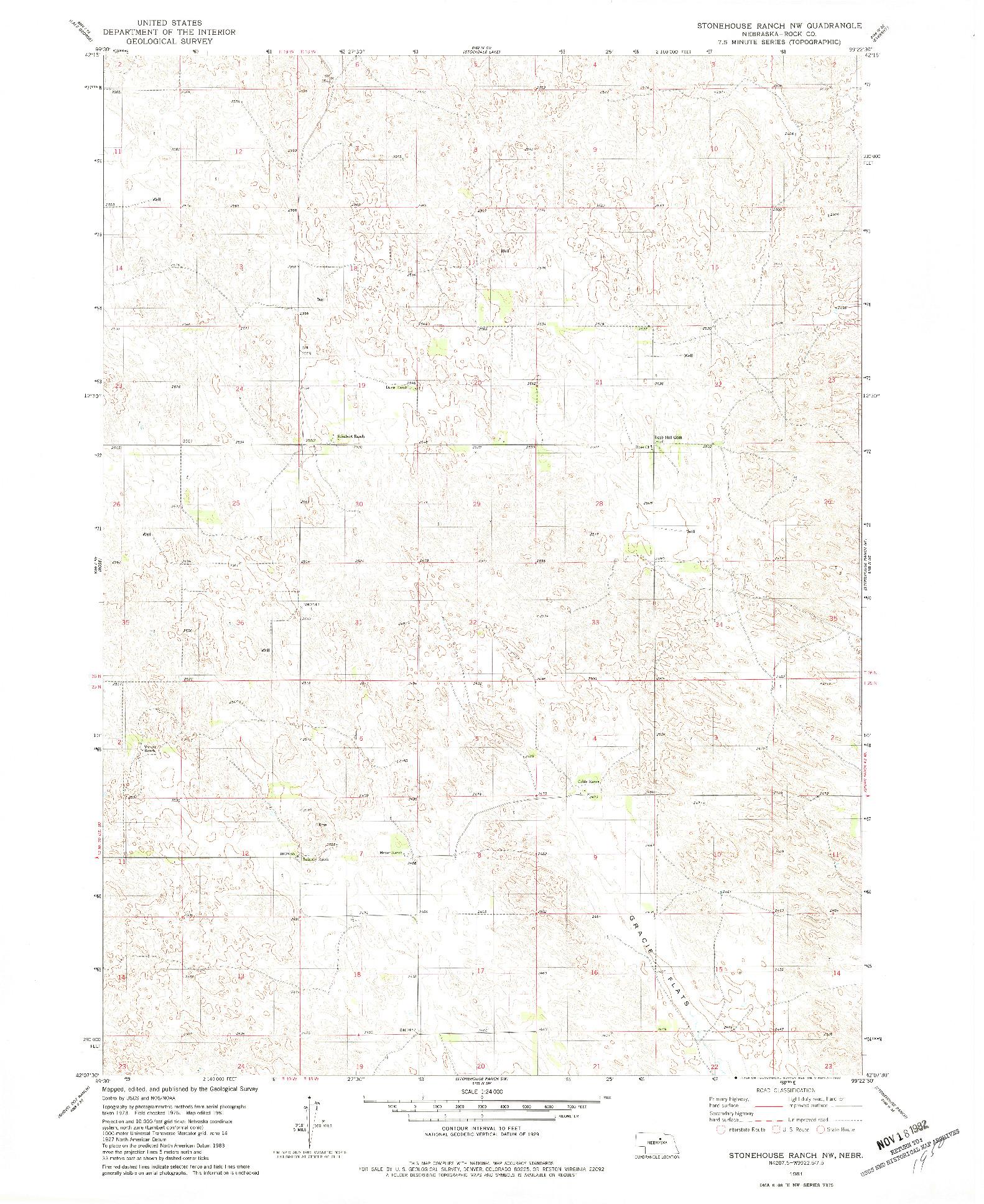 USGS 1:24000-SCALE QUADRANGLE FOR STONEHOUSE RANCH NW, NE 1981