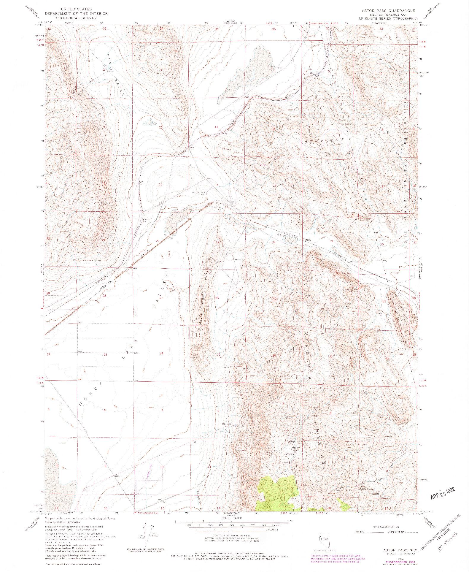 USGS 1:24000-SCALE QUADRANGLE FOR ASTOR PASS, NV 1964