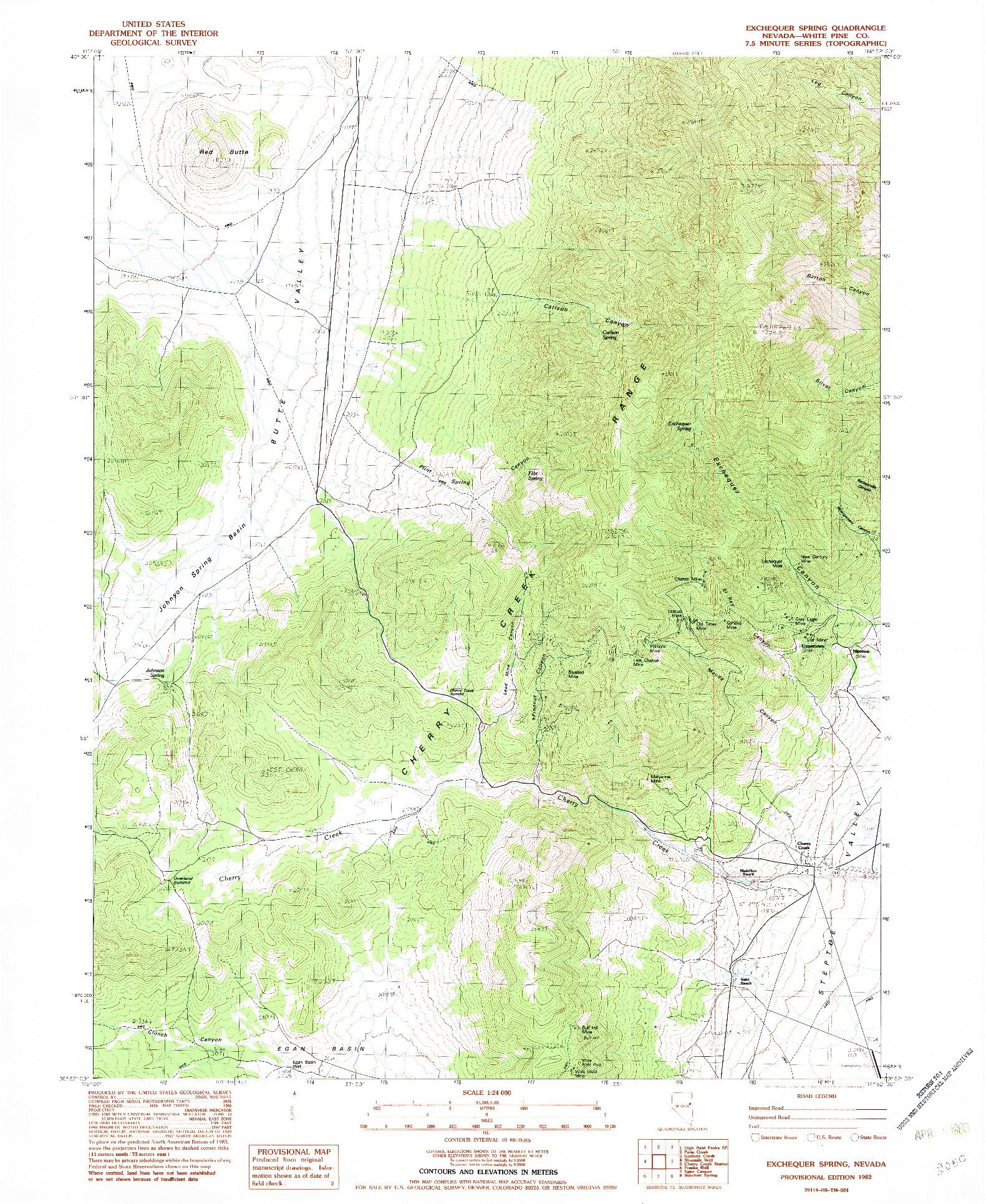 USGS 1:24000-SCALE QUADRANGLE FOR EXCHEQUER SPRING, NV 1982