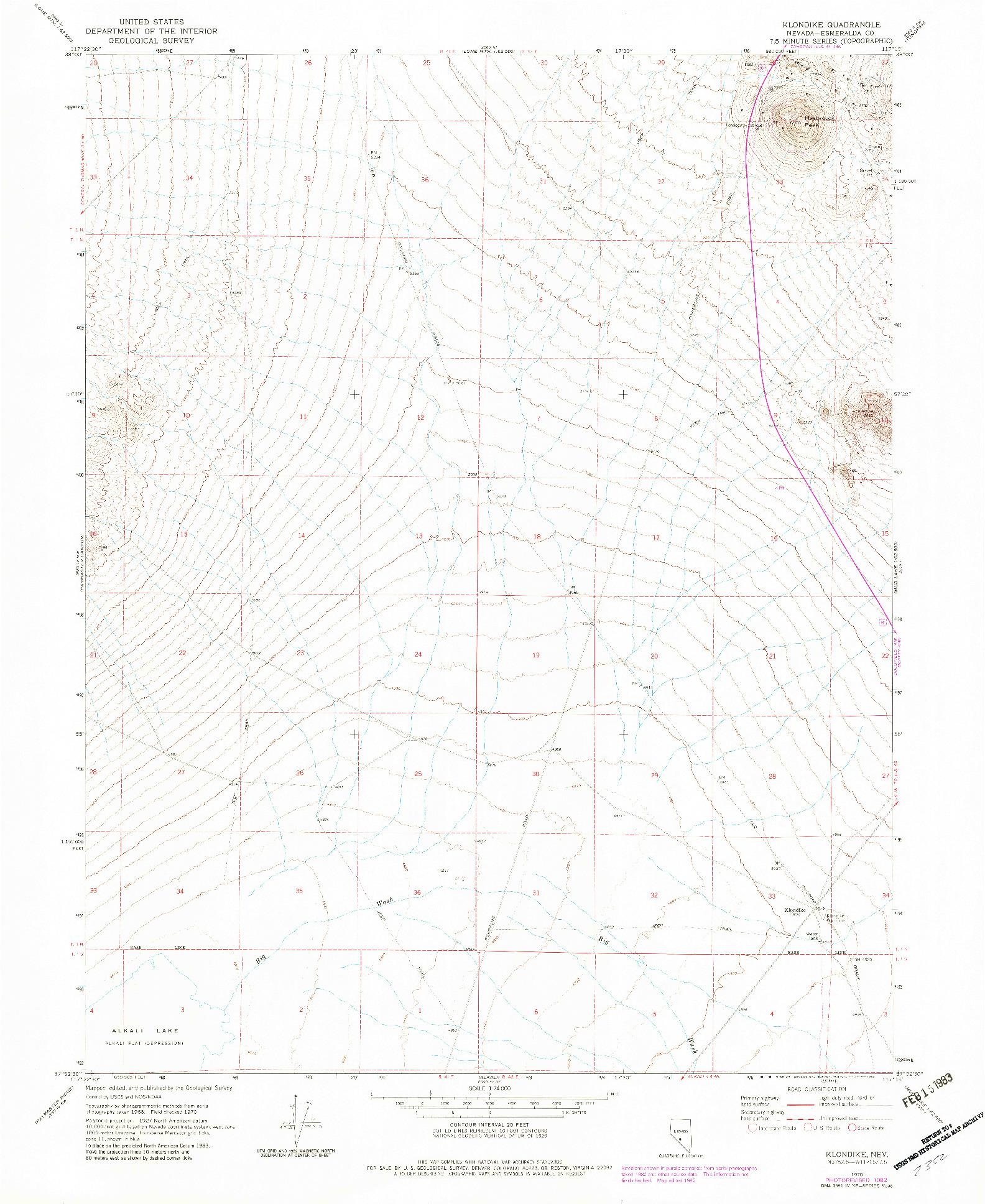 USGS 1:24000-SCALE QUADRANGLE FOR KLONDIKE, NV 1970