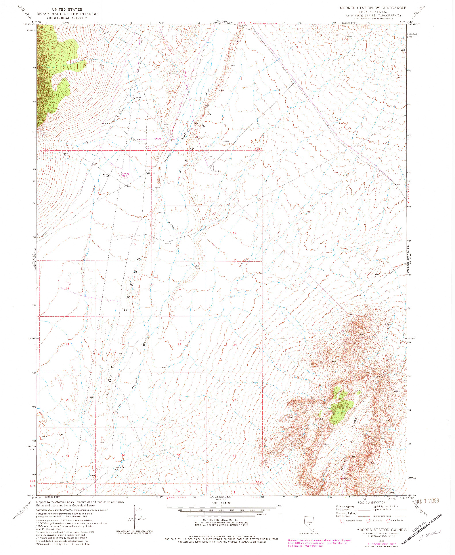 USGS 1:24000-SCALE QUADRANGLE FOR MOORES STATION SW, NV 1967