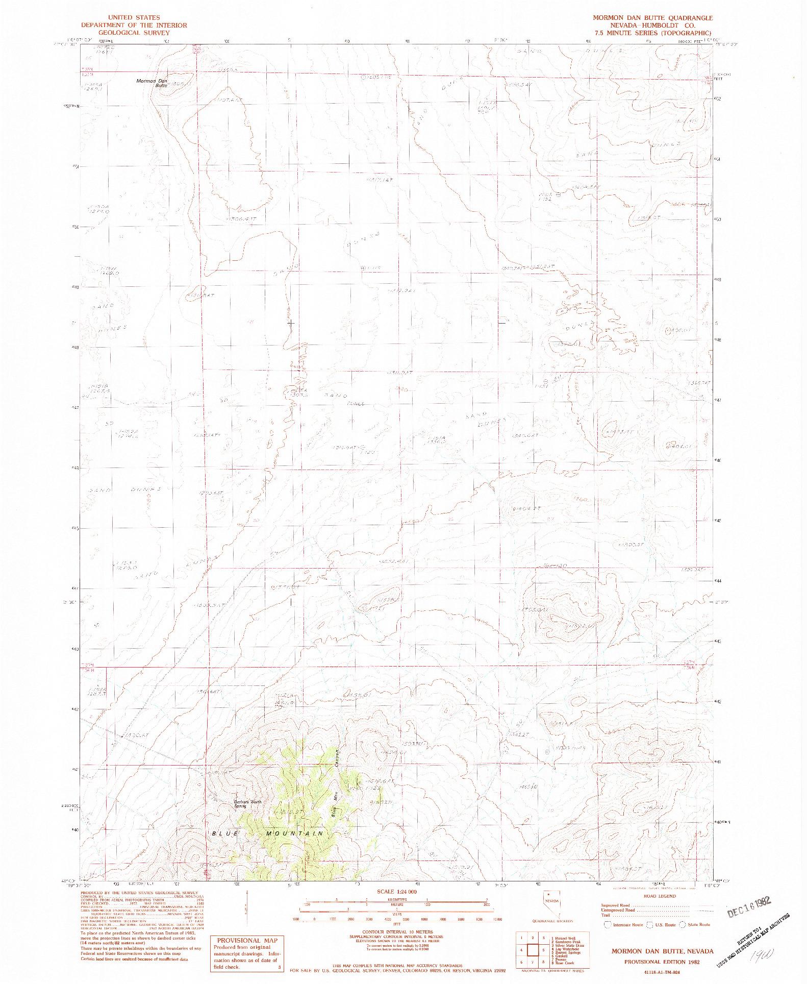 USGS 1:24000-SCALE QUADRANGLE FOR MORMON DAN BUTTE, NV 1982