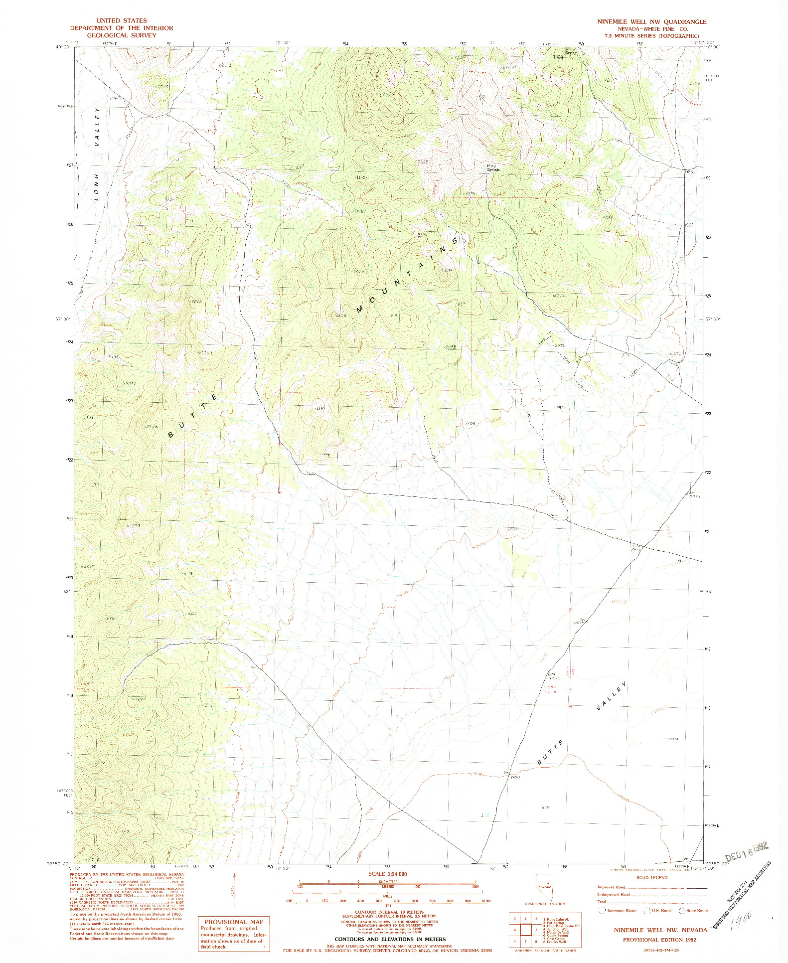 USGS 1:24000-SCALE QUADRANGLE FOR NINEMILE WELL NW, NV 1982
